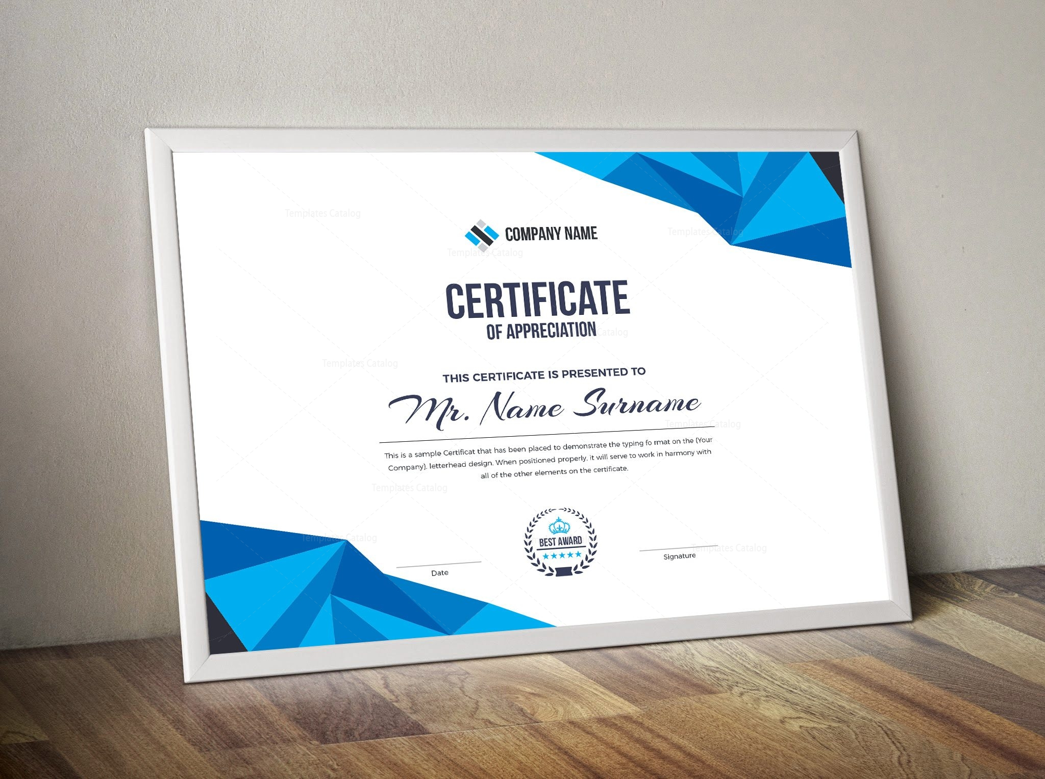 high quality elegant corporate certificate template 000855