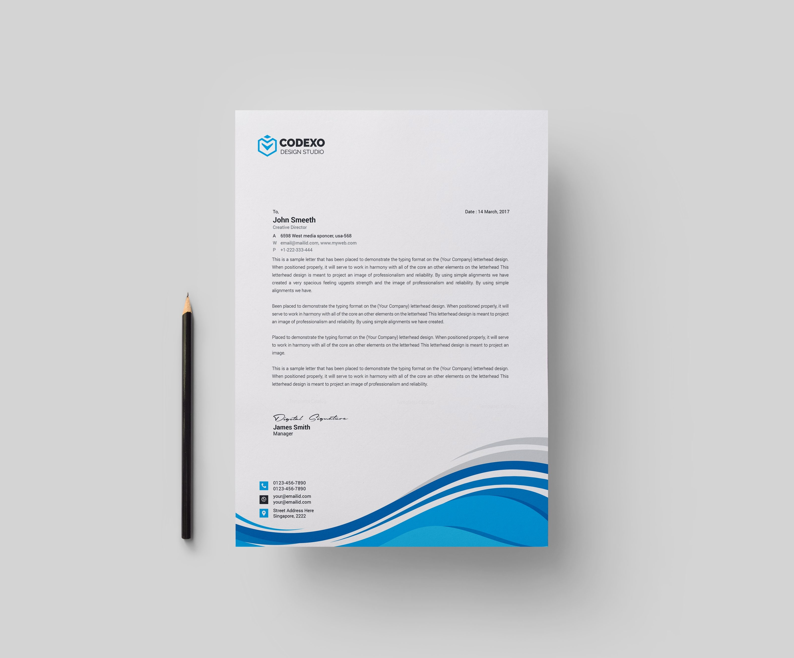 High quality modern corporate letterhead template 000877 template high quality modern corporate letterhead template 2 spiritdancerdesigns Image collections