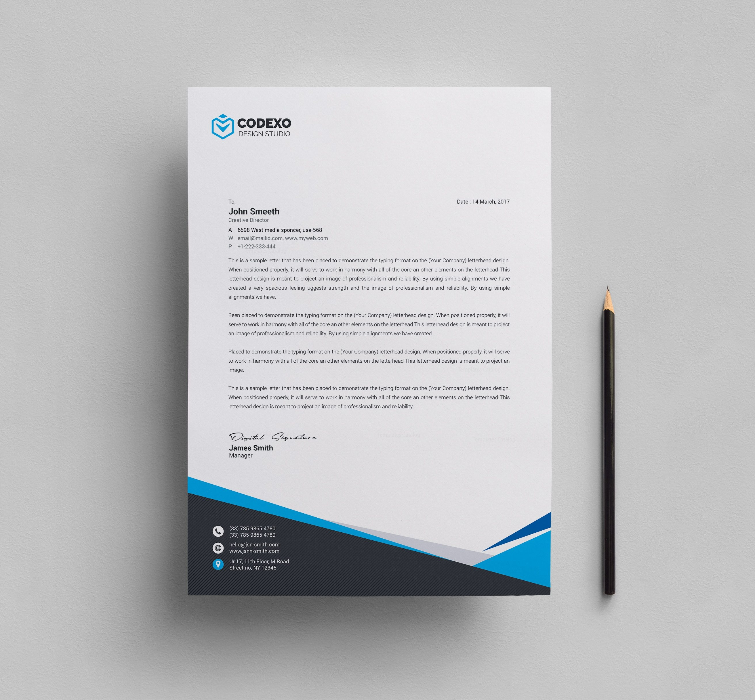 Mira Professional Corporate Letterhead Template 000908   Template