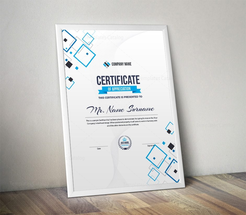 Portrait Certificate Template With Modern Design 000862 Template
