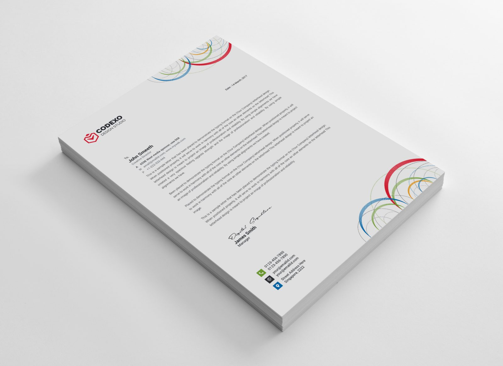poseidon modern corporate letterhead template 000881