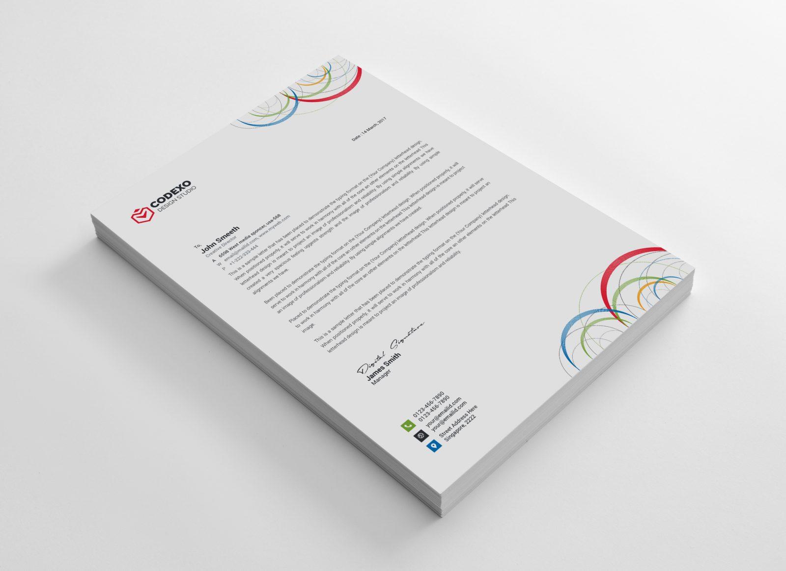 poseidon modern corporate letterhead template 000881