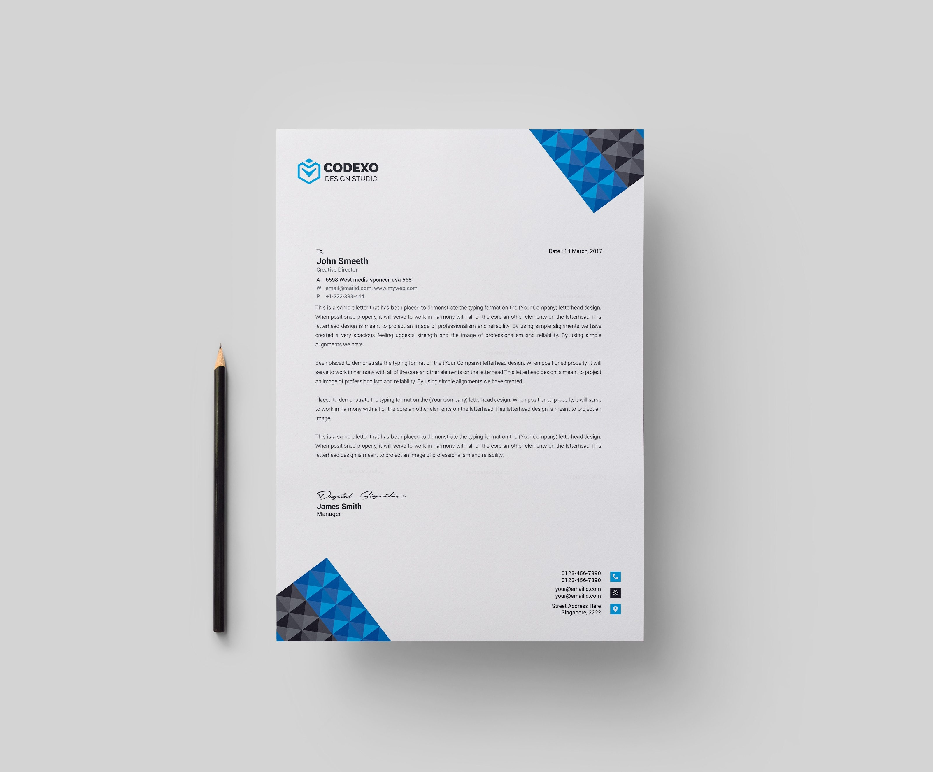 Pyramid Professional Corporate Letterhead Template 000901 - Template ...