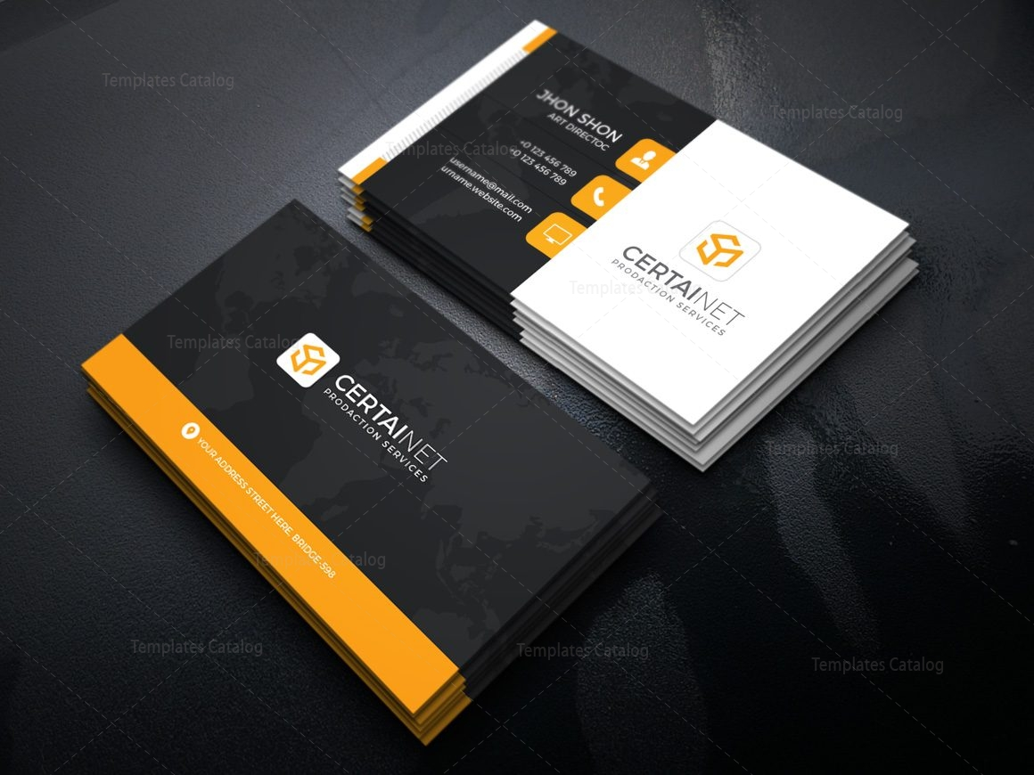 Security company corporate business card template 000925 for Security company profile template