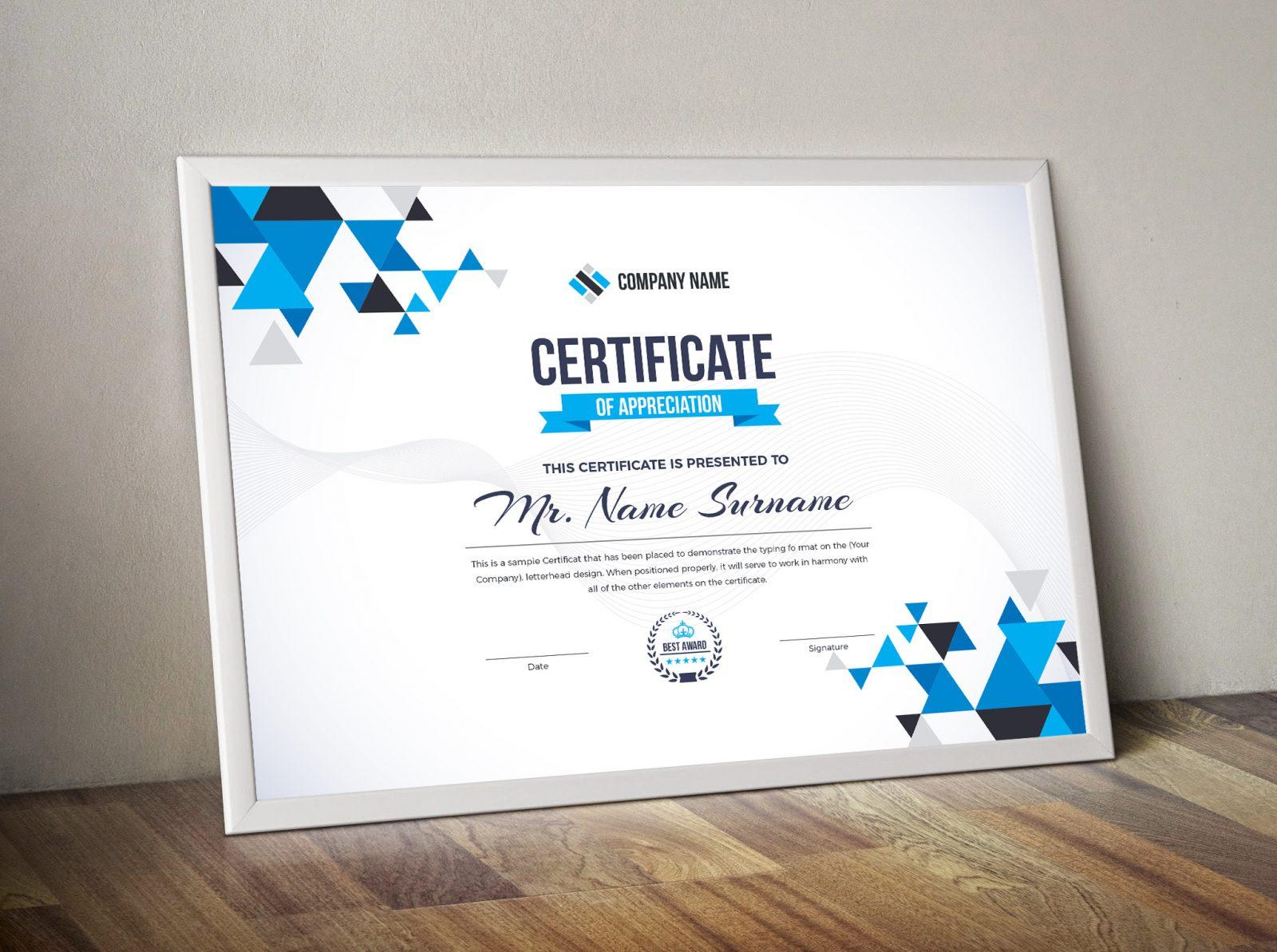 triangle elegant professional certificate template 000857