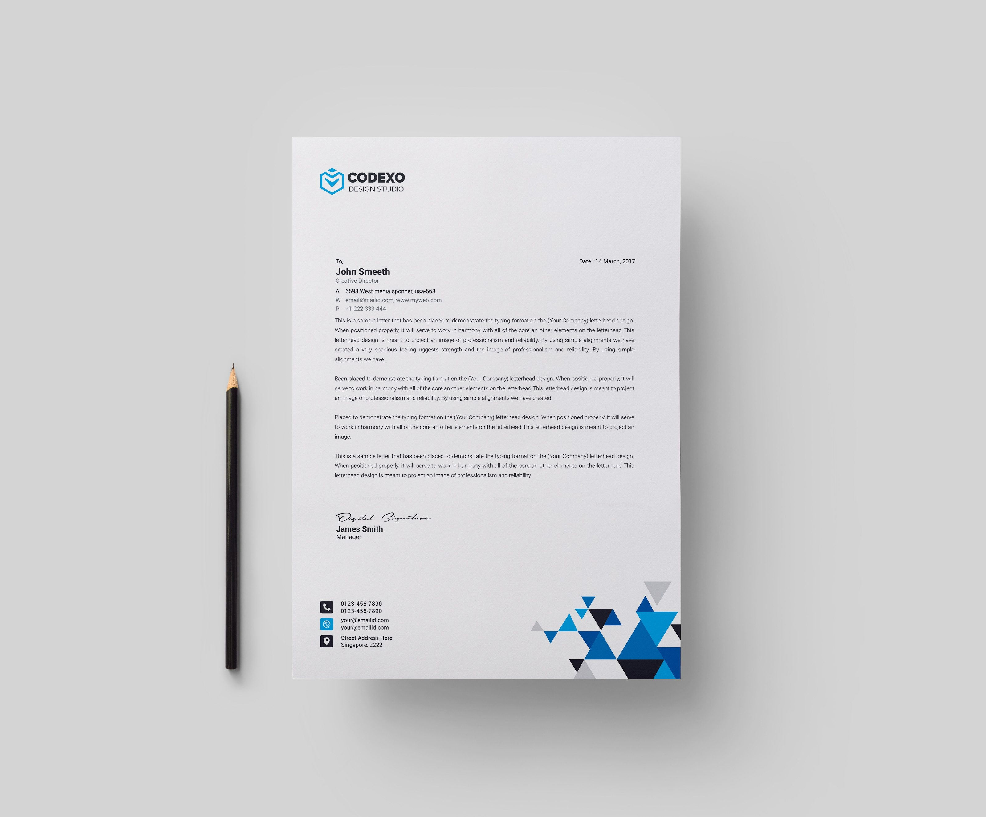 format of letter head of professional