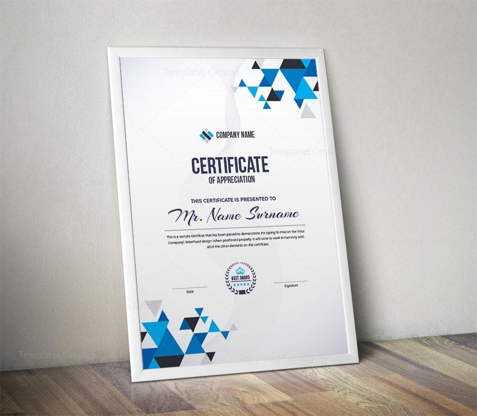 Triangle Professional Portrait Certificate Template 000876