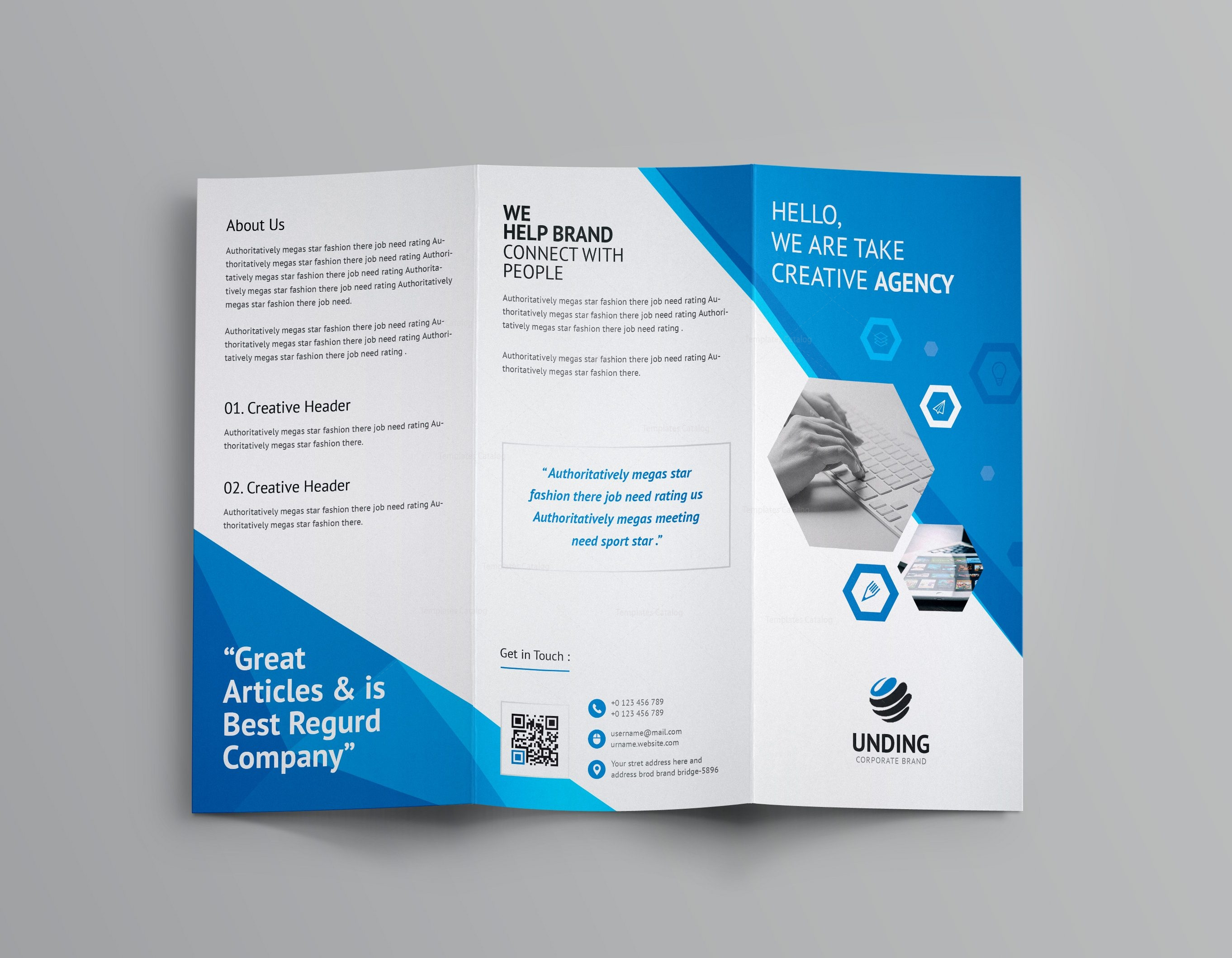 Aeolus corporate tri fold brochure template 001159 for Folded brochure template