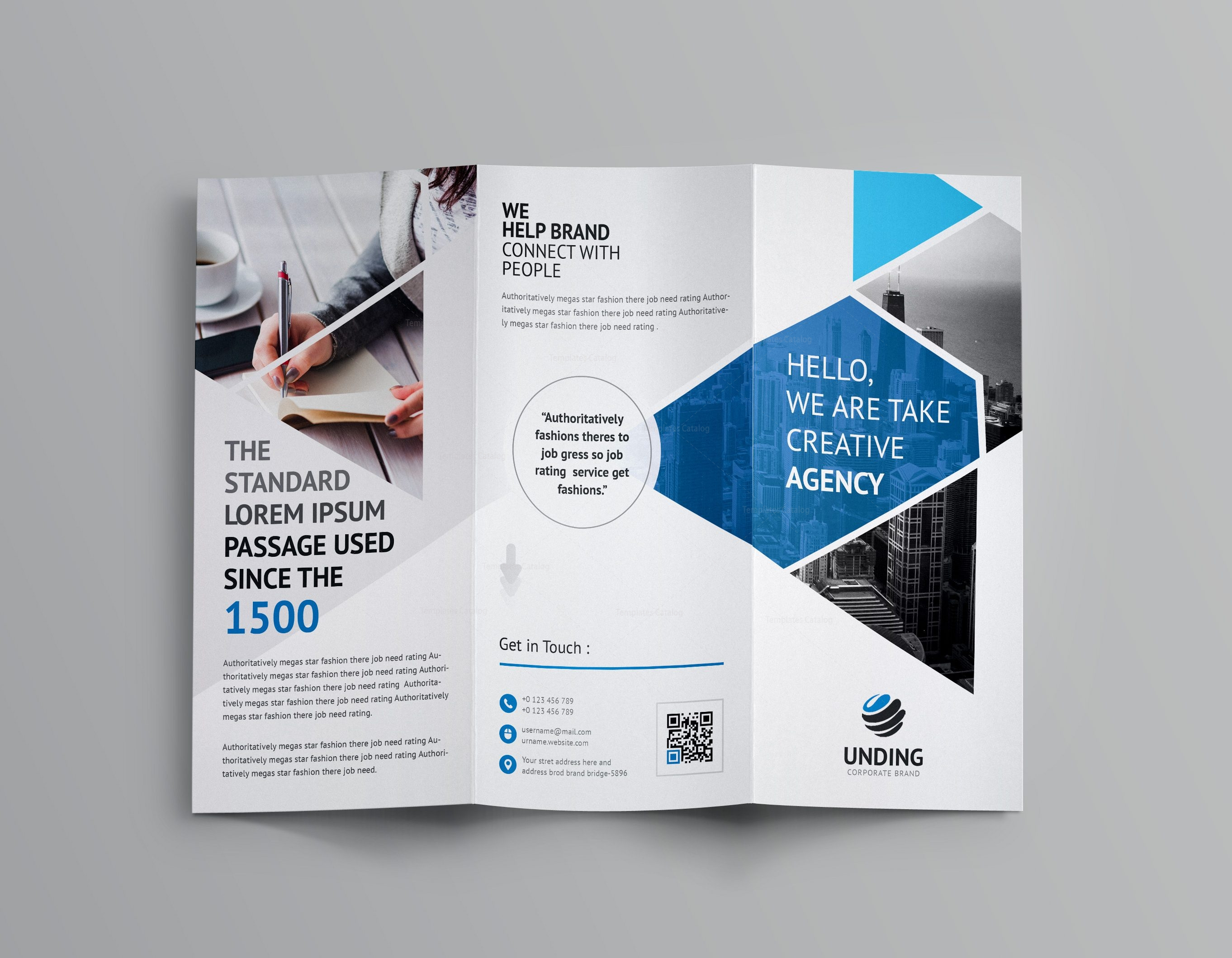 Aether corporate tri fold brochure template 001160 for One fold brochure template