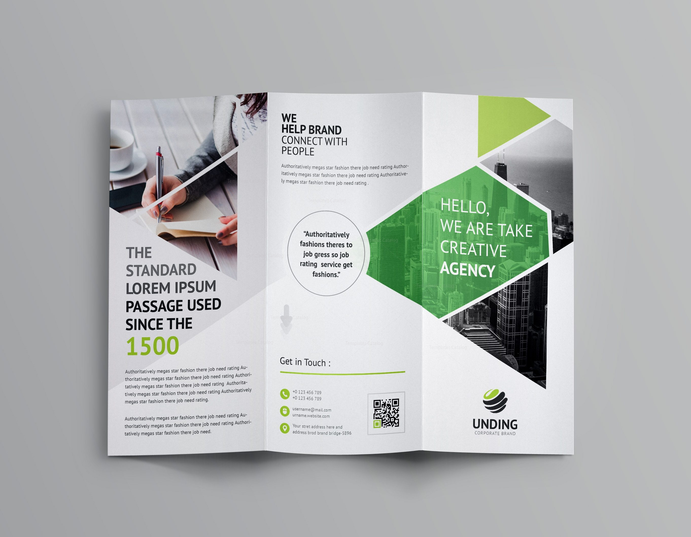 Aether corporate tri fold brochure template 001160 for Foldable booklet template