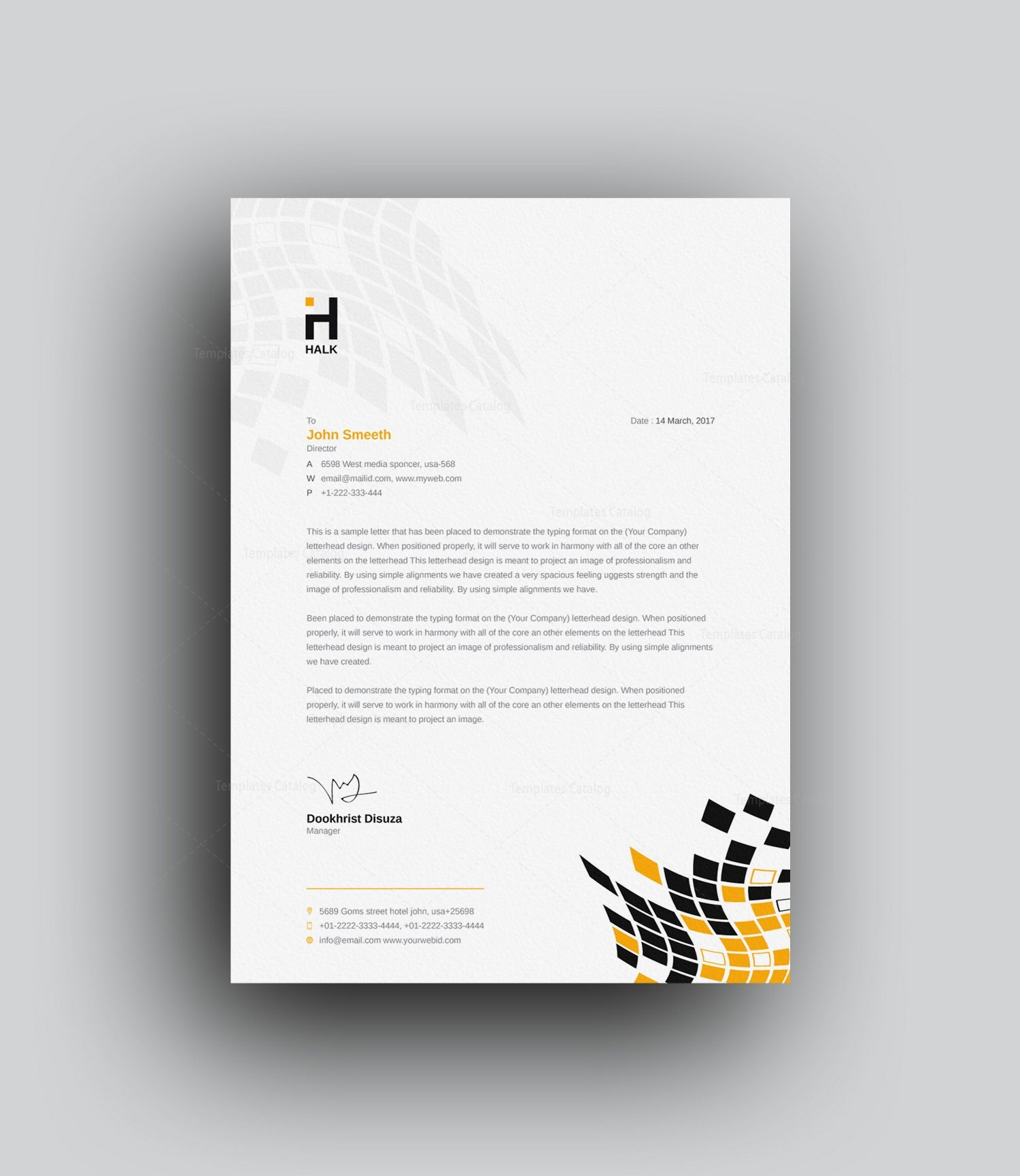 Executive Stationery Letterhead Business Letterhead 8370: Alastor Professional Corporate Letterhead Template 001026