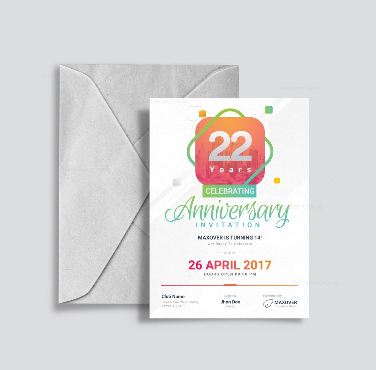 Anniversary Invitation Template | Ares Elegant Anniversary Invitation Template 001127 Template Catalog