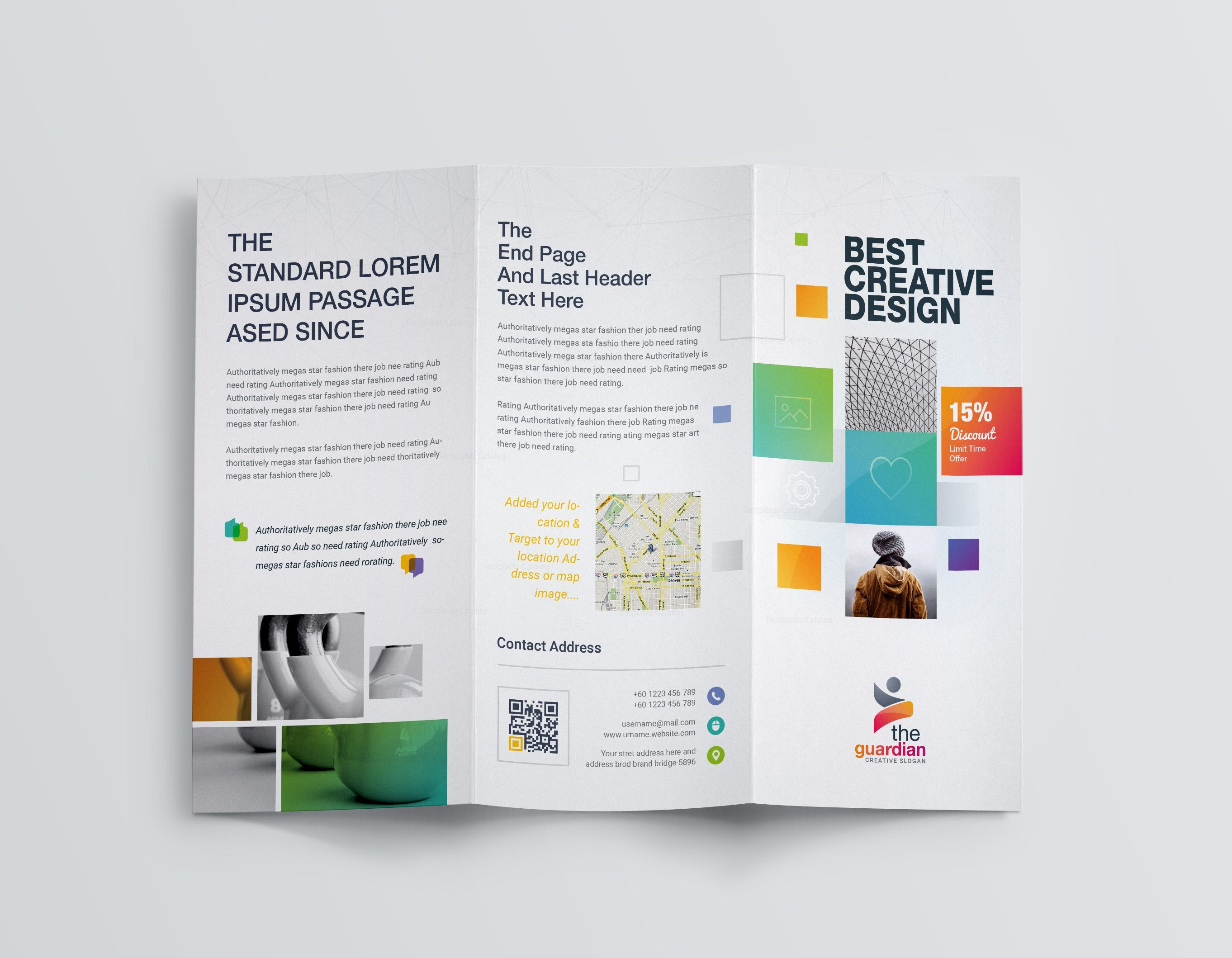 Best creative corporate tri fold brochure template 001211 for Creative brochure template
