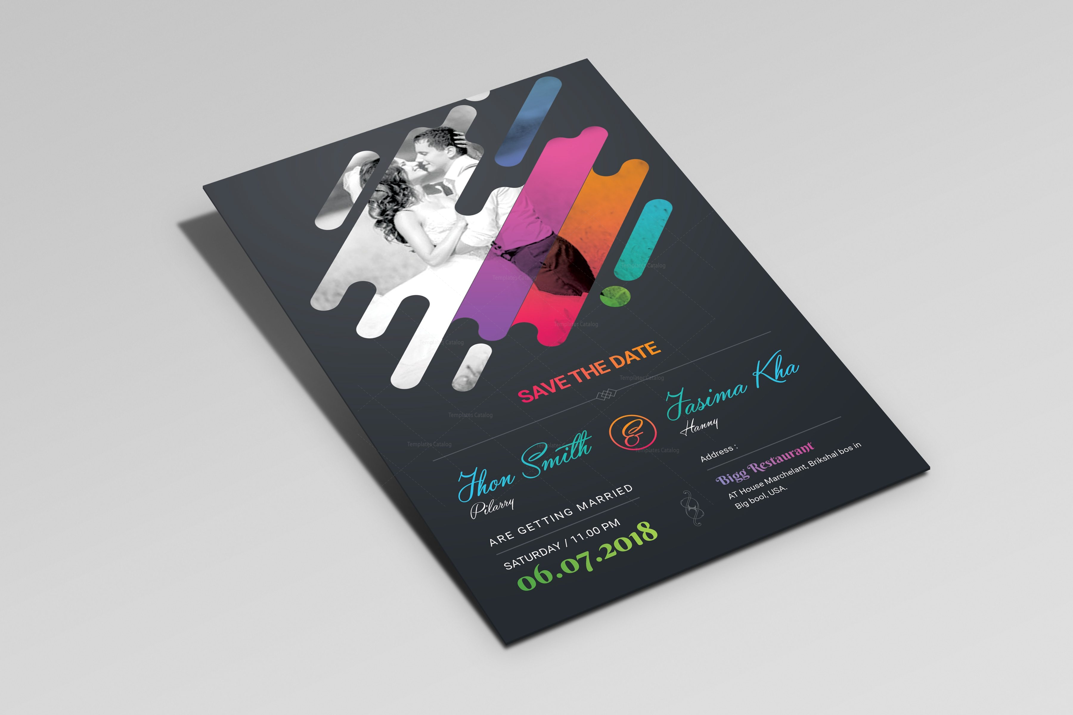 Colorful Creative Elegant Wedding Invitation Template 001247 ...