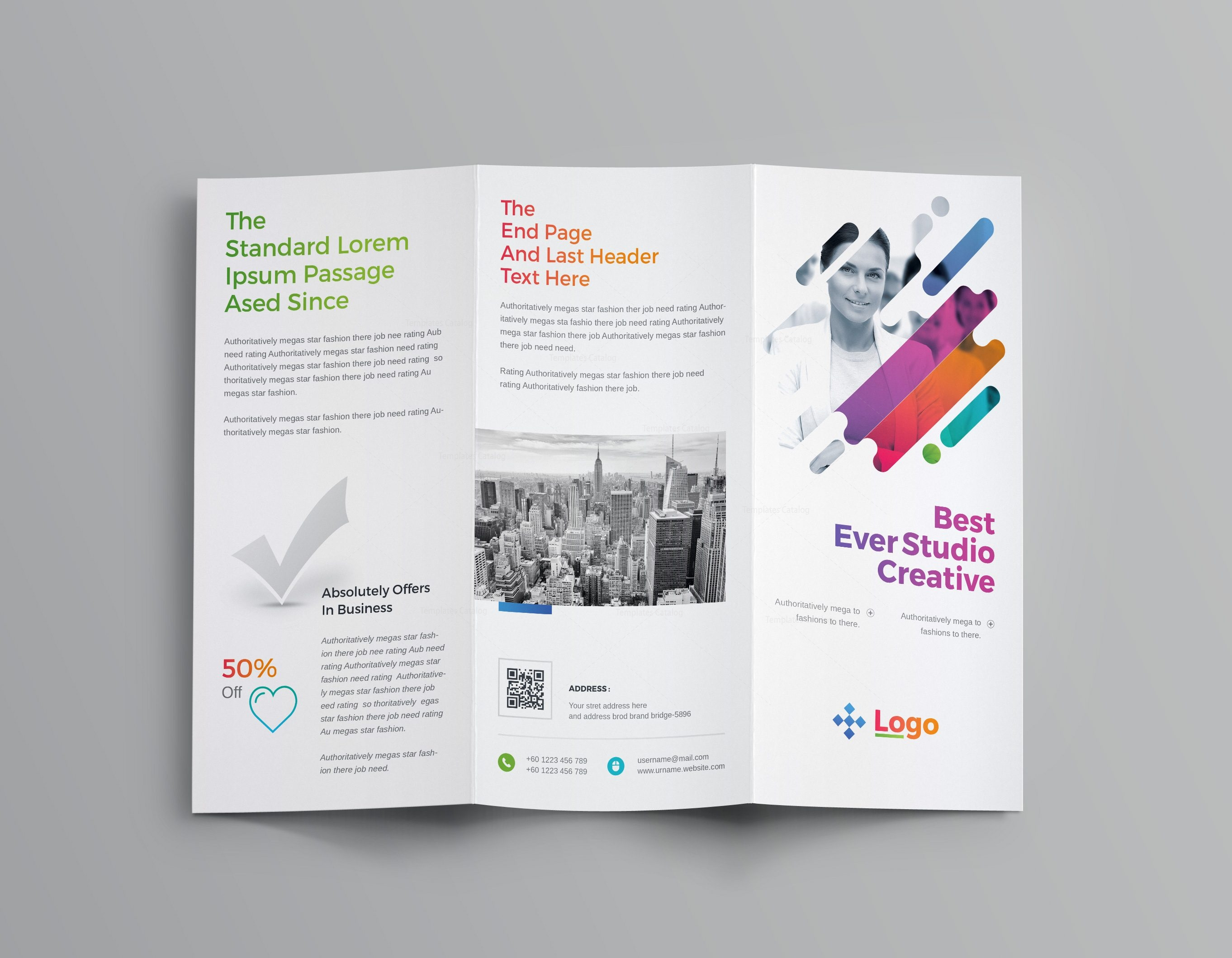 Colorful professional tri fold brochure template 001204 for Colorful brochure templates
