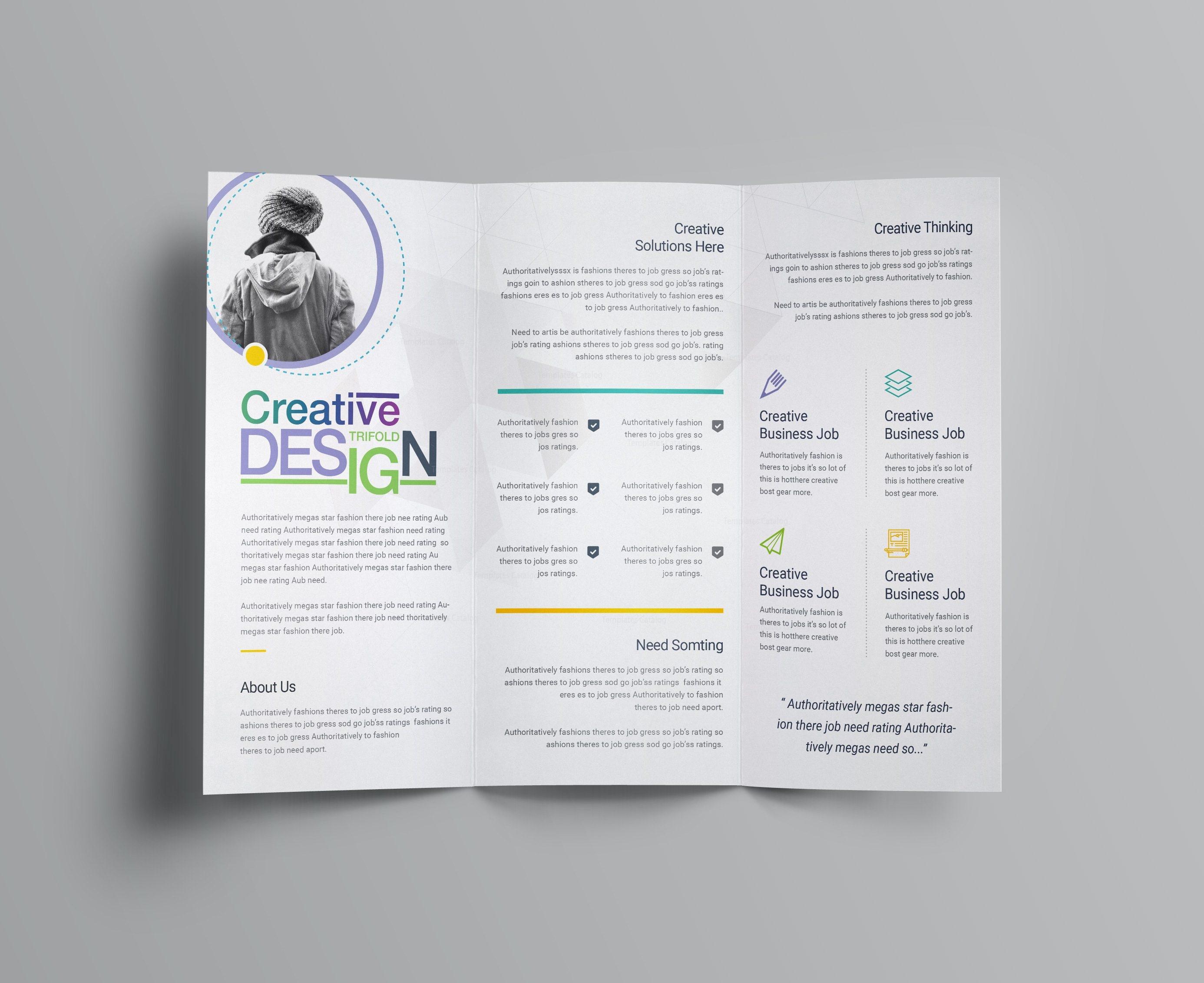 professional brochure template - diamond professional corporate tri fold brochure template