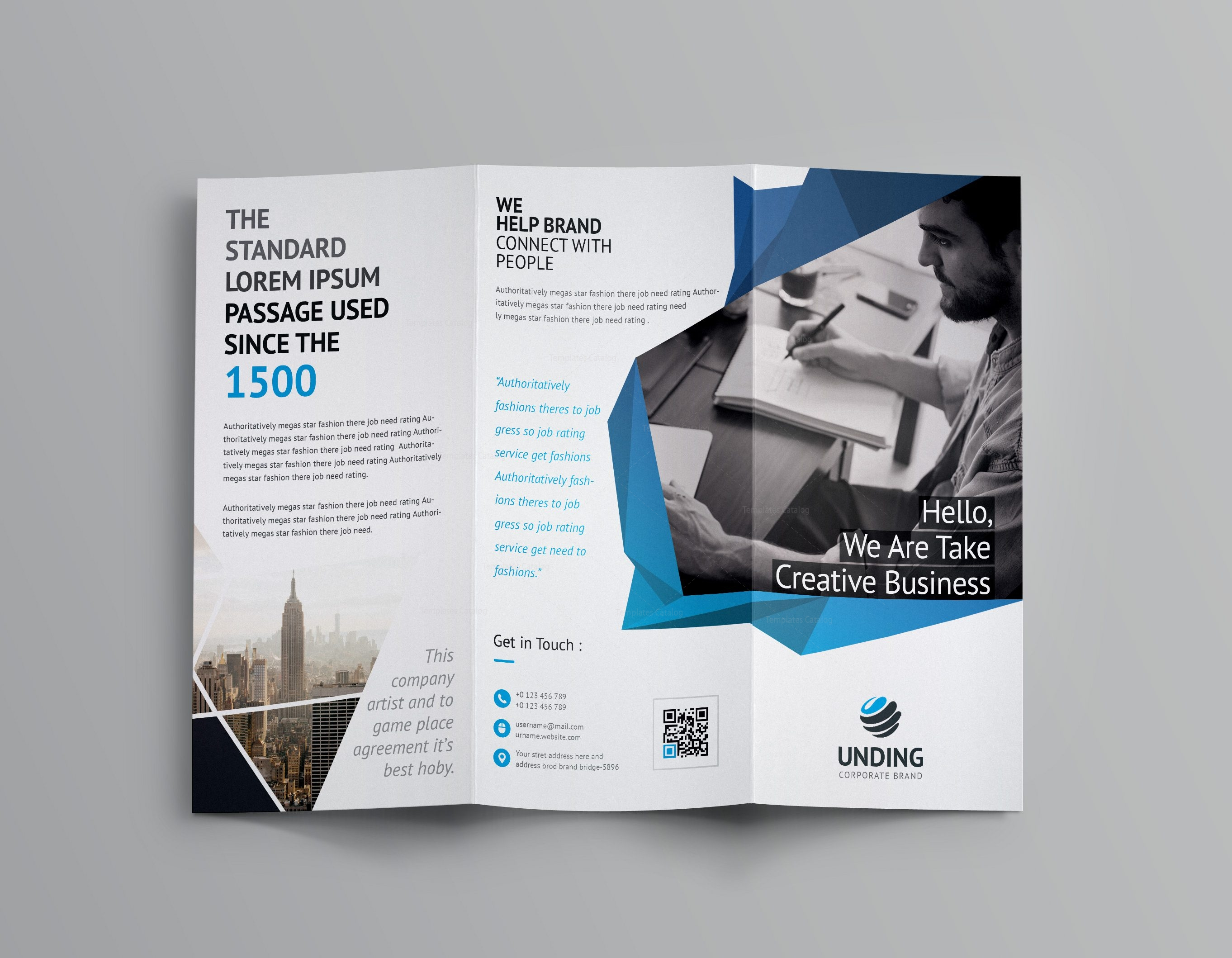 Fancy business tri fold brochure template 001170 for Brochure templates tri fold