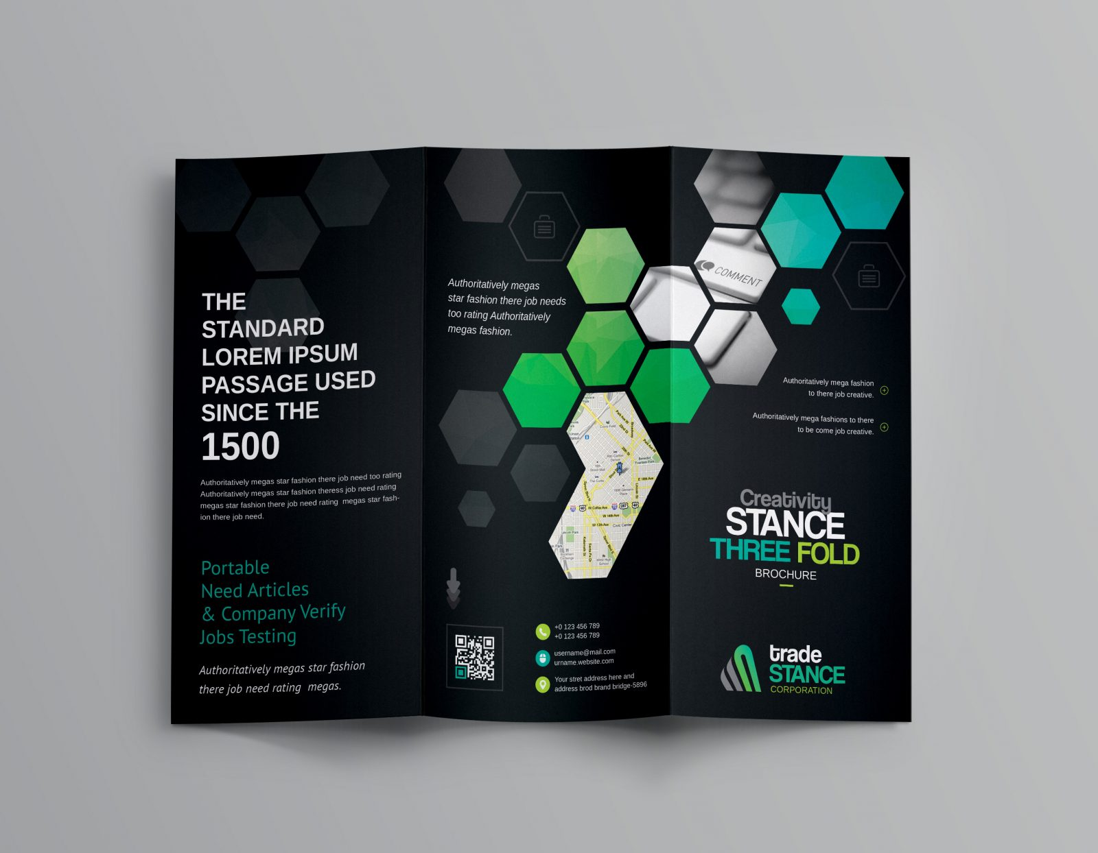 hexagon corporate tri-fold brochure template 001164
