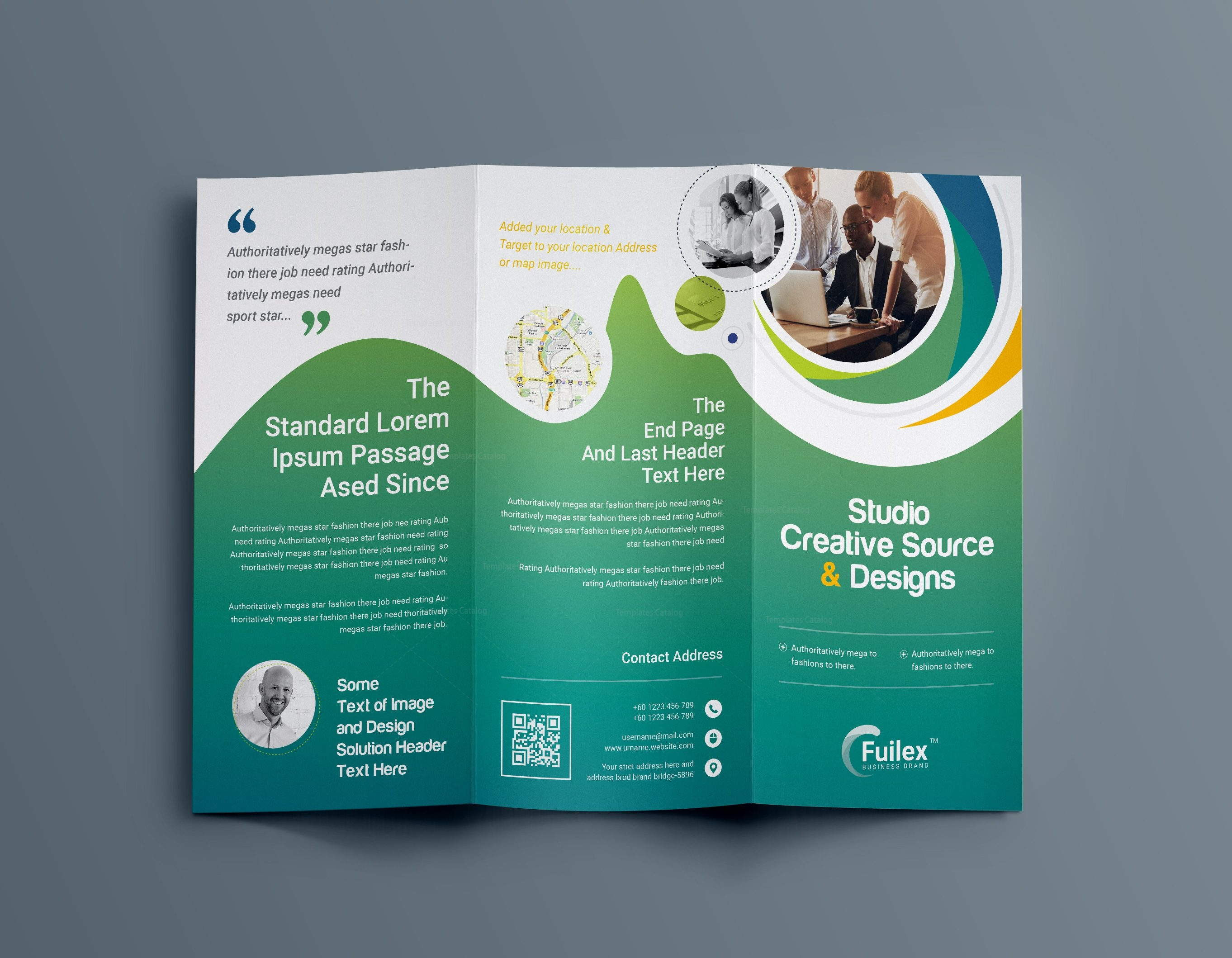 Hypnosis professional tri fold brochure template 001203 for Tri fold business brochure template