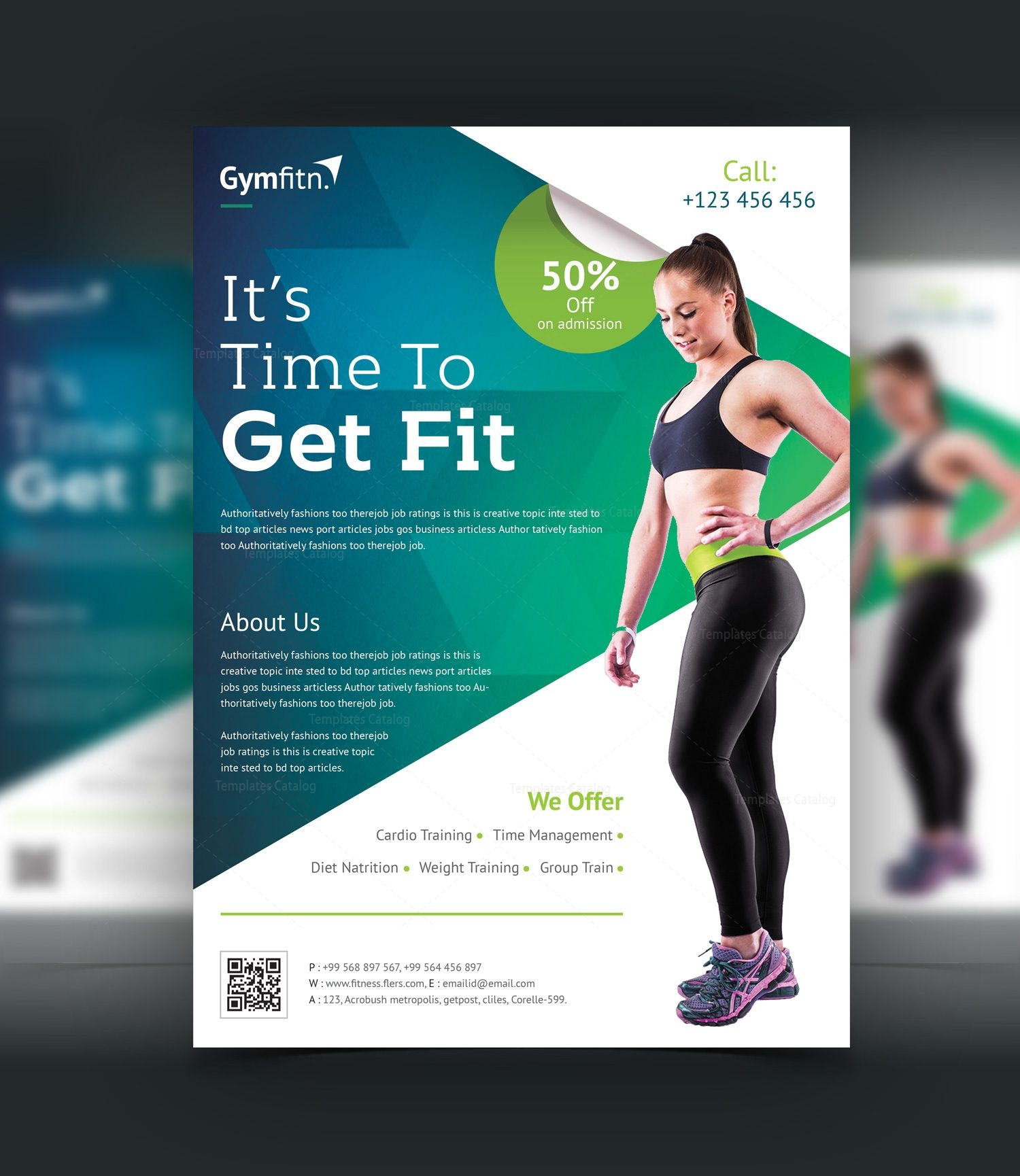 Modern professional fitness center flyer template 001045 template catalog for Modern flyers template