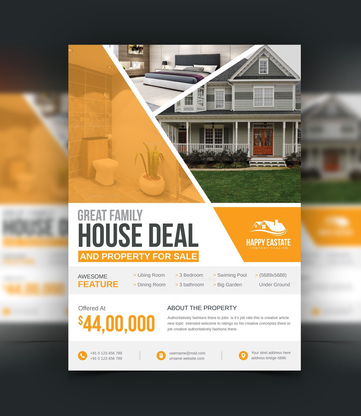modern professional open house flyer template 3