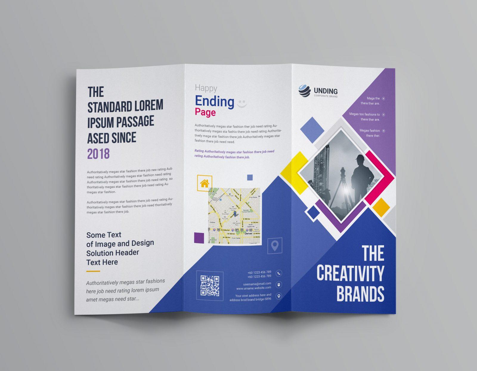 neptune professional corporate tri-fold brochure template 001207
