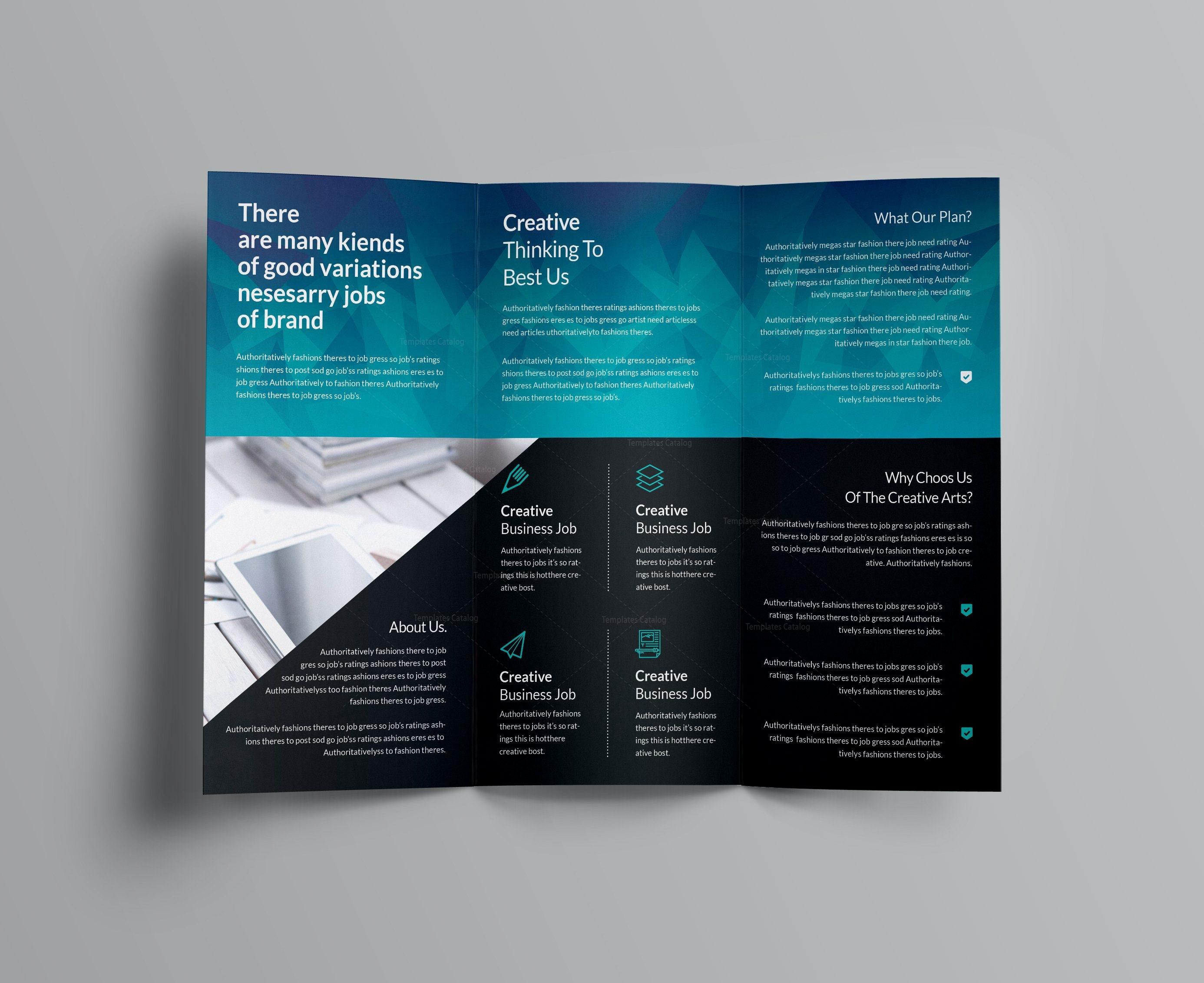 Ocean Corporate TriFold Brochure Template Template Catalog - Four fold brochure template