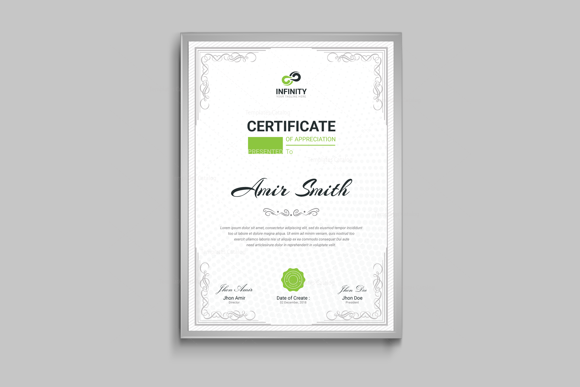 ornament professional certificate template 001120