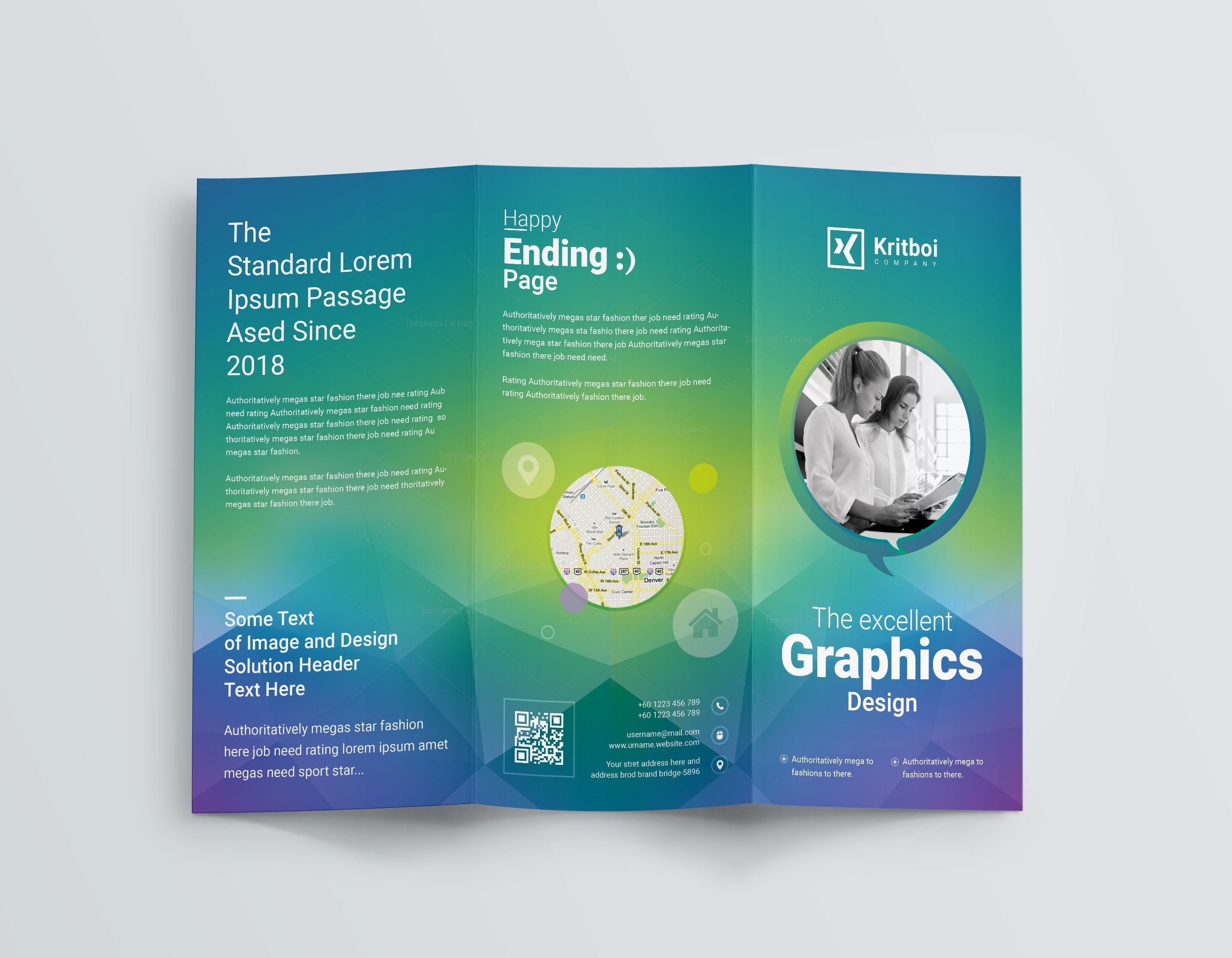 Professional corporate tri fold brochure template 001205 for Professional brochure design templates