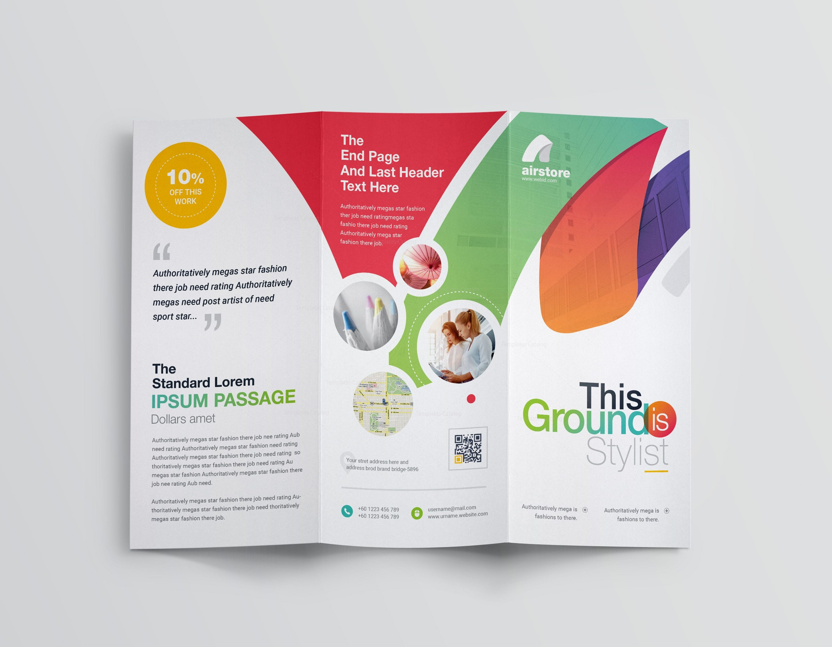 commercial brochure templates - rainbow professional corporate tri fold brochure template