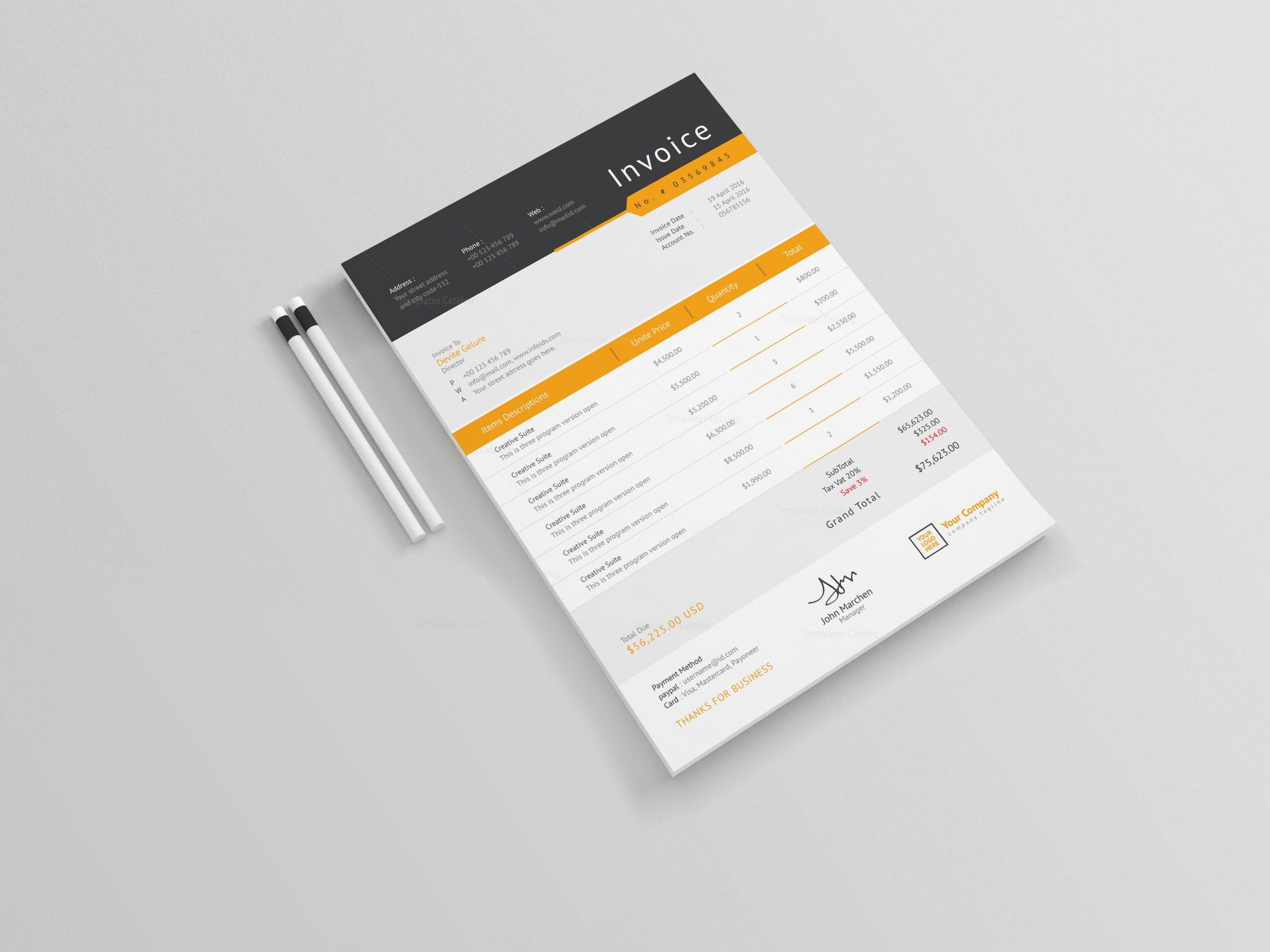 Sleek Professional Corporate Invoice Template 001248 - Template Catalog