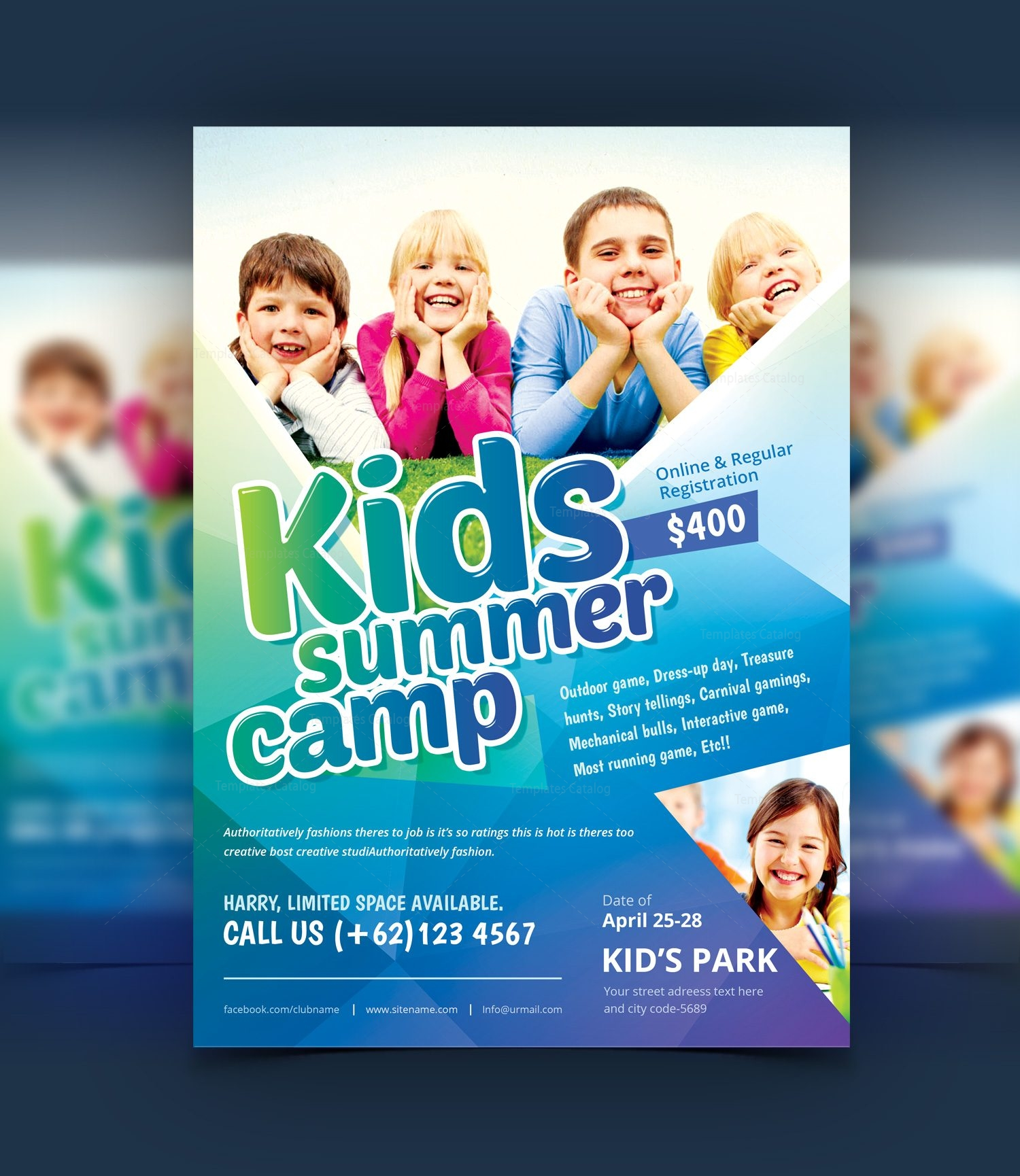 Stylish Kids Camp Party Flyer Template 001077 - Template Catalog