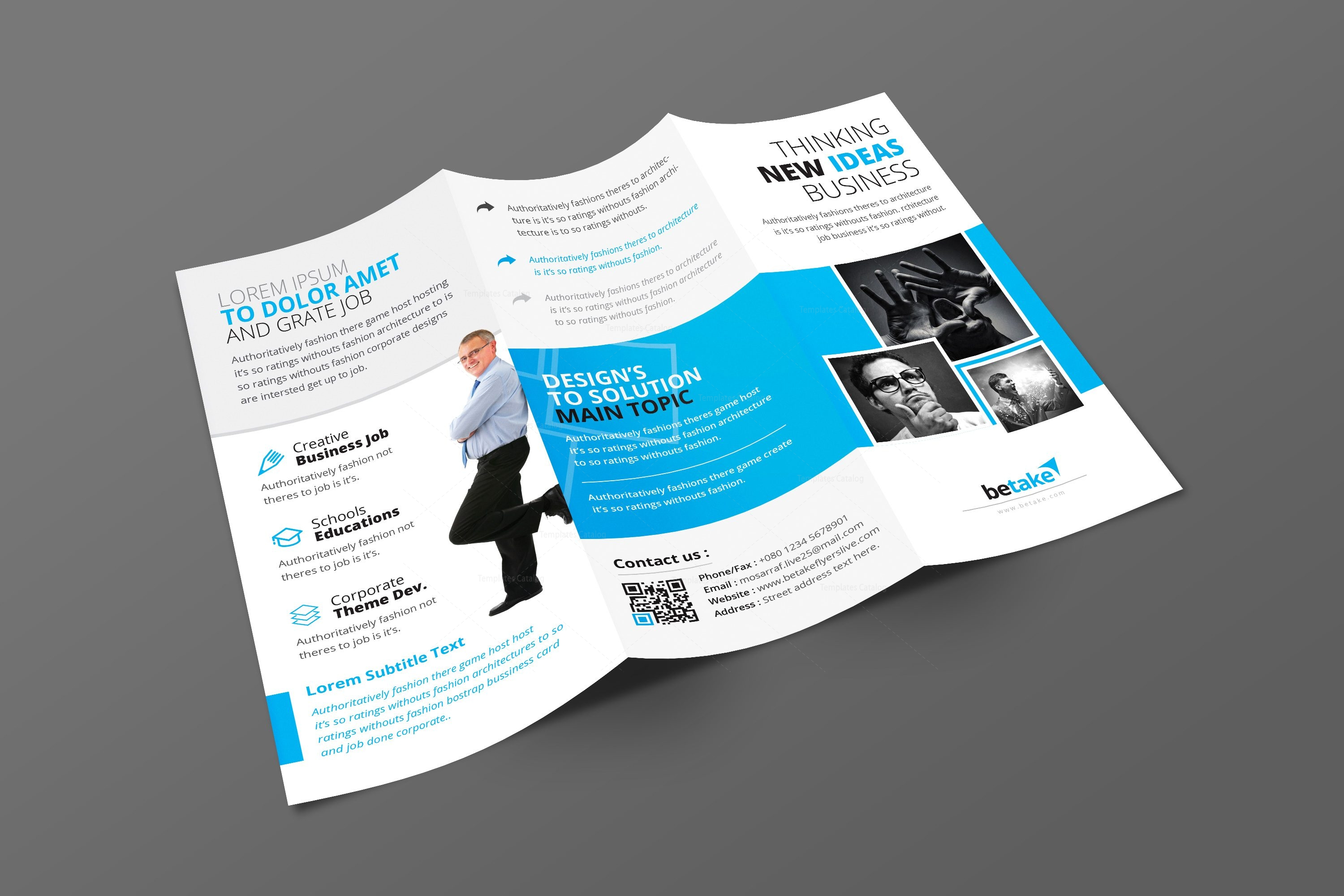 Zephyrus modern corporate tri fold brochure template for Modern brochure design templates