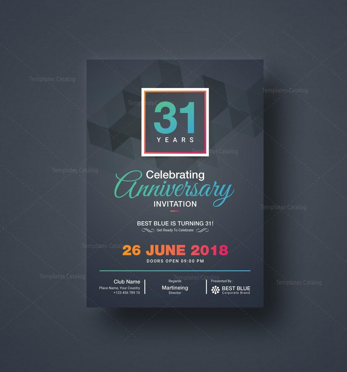 zeus elegant anniversary invitation template 001126 template catalog