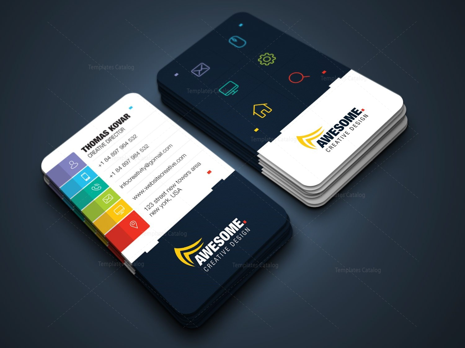 Awesome versatile corporate business card template 001431 template awesome versatile corporate business card template 1 reheart Image collections