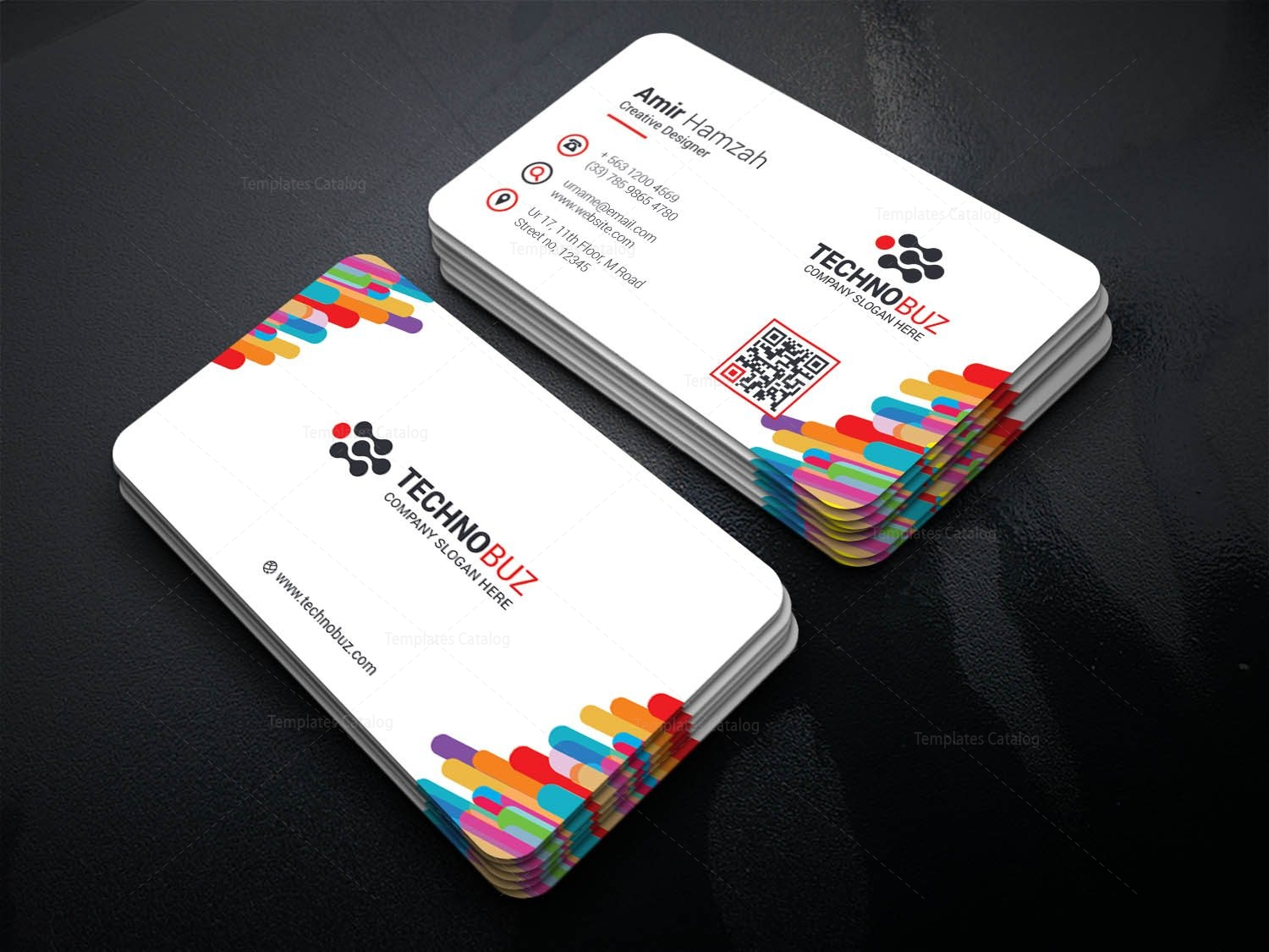 Colorful elegant corporate business card template 001346 template colorful elegant corporate business card template 1 colourmoves