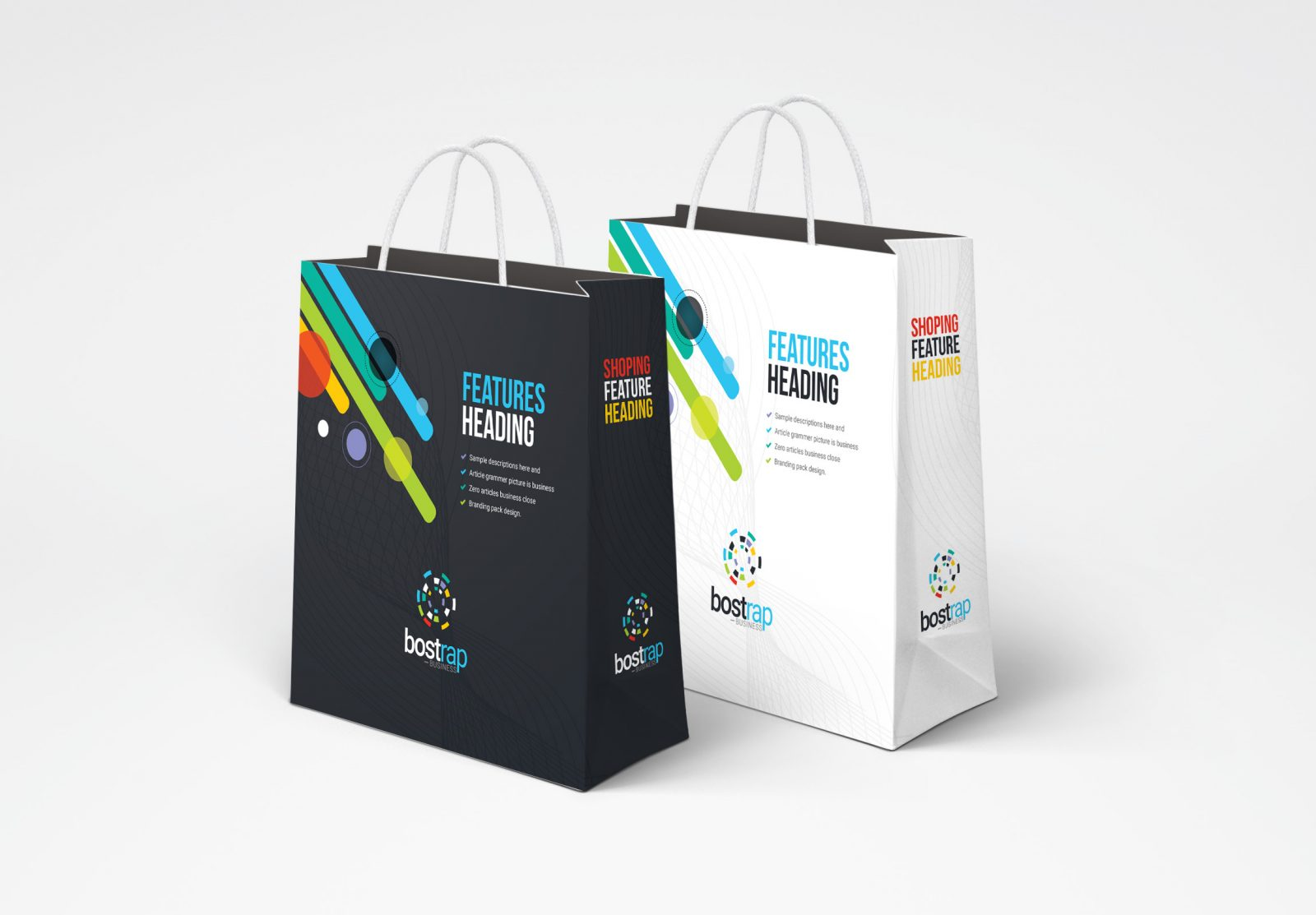 colorful shopping bag template 001273