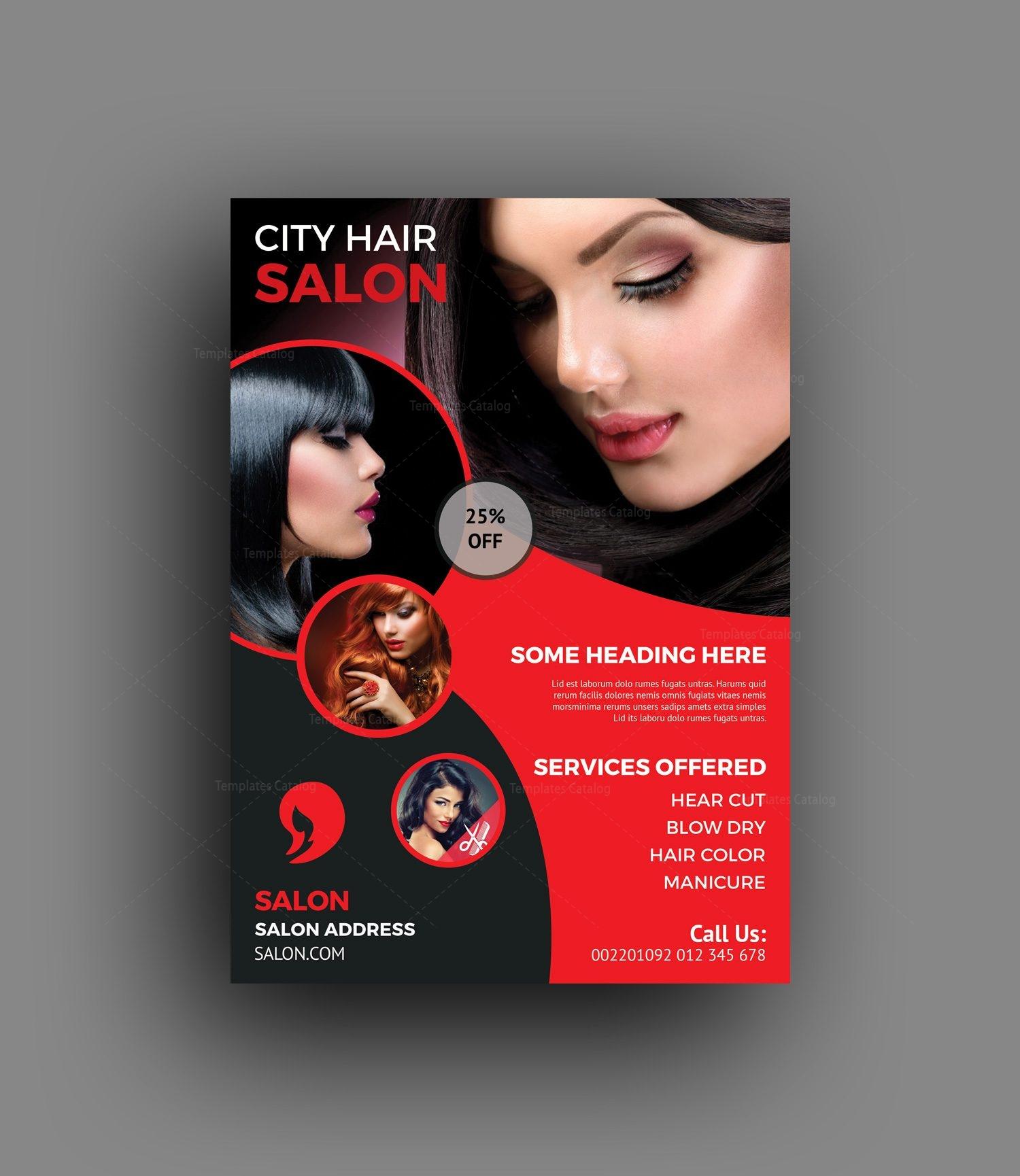 Elegant Hair Salon Flyer Template 001464 Template Catalog