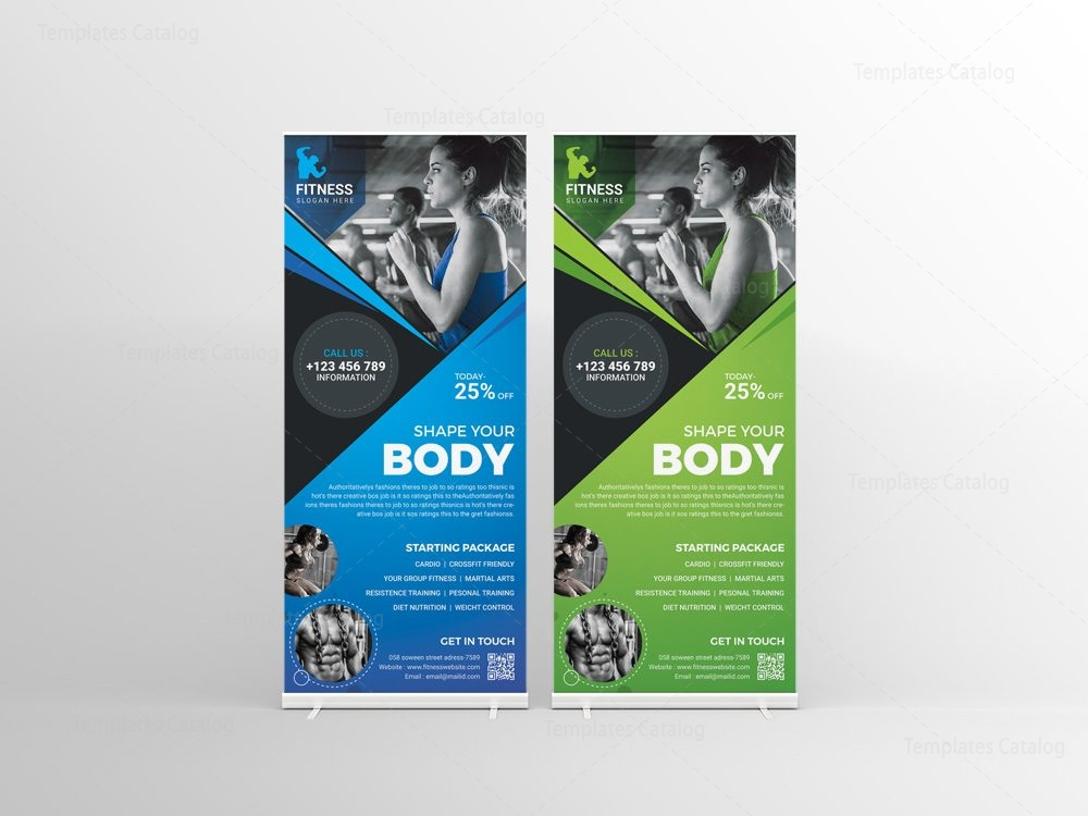 fitness center professional roll up banner template 001262
