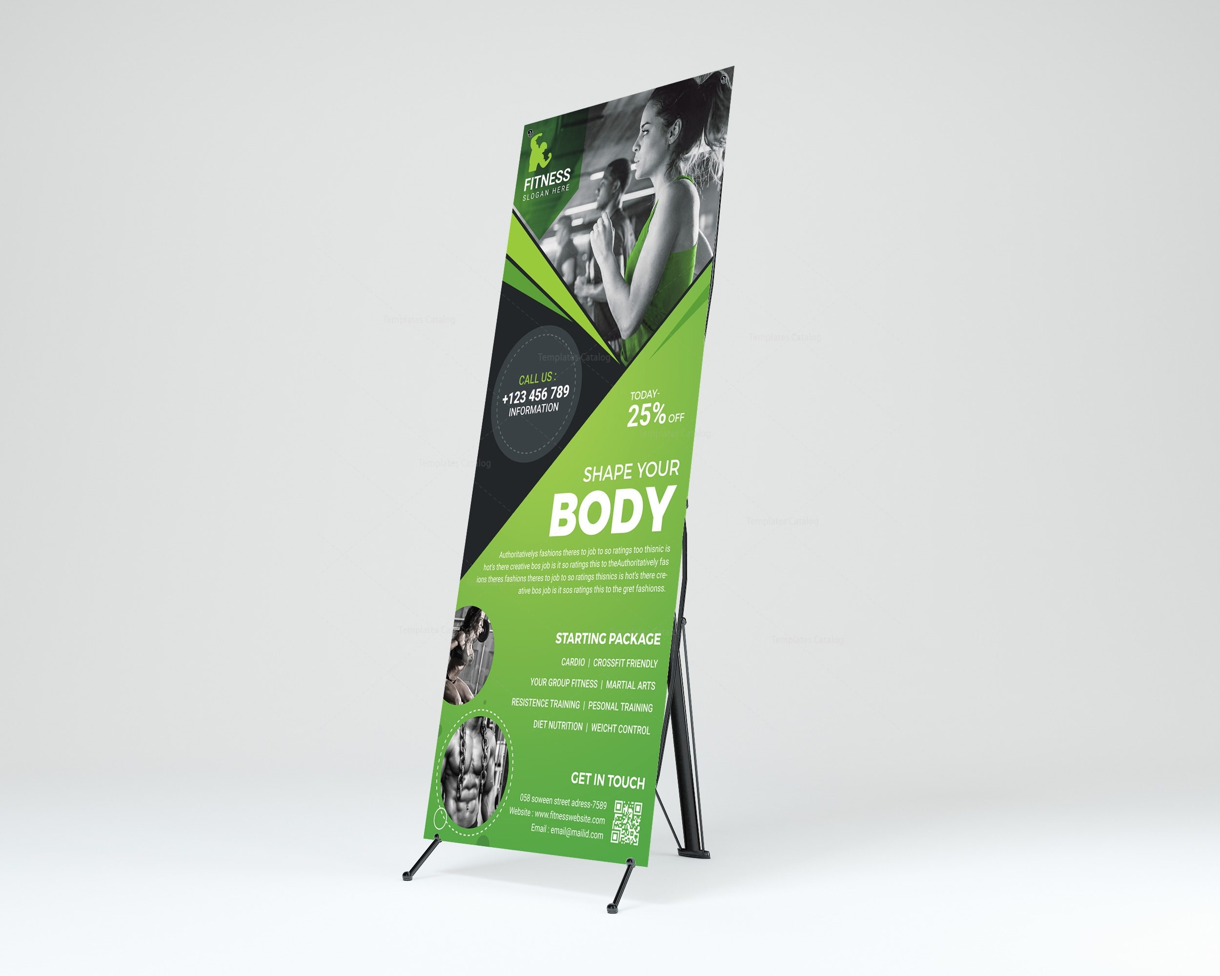 Fitness Center Professional Roll-Up Banner Template 001262 ...