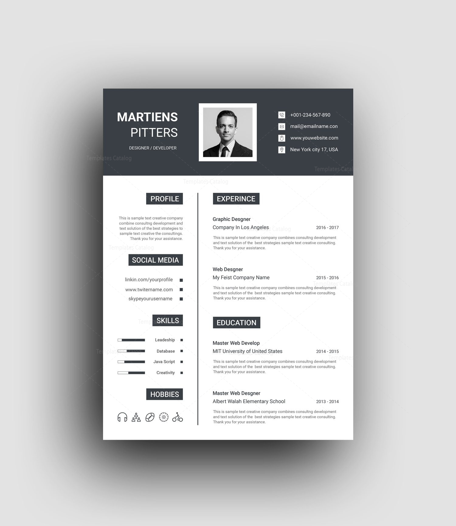 kratos elegant professional resume template 001462