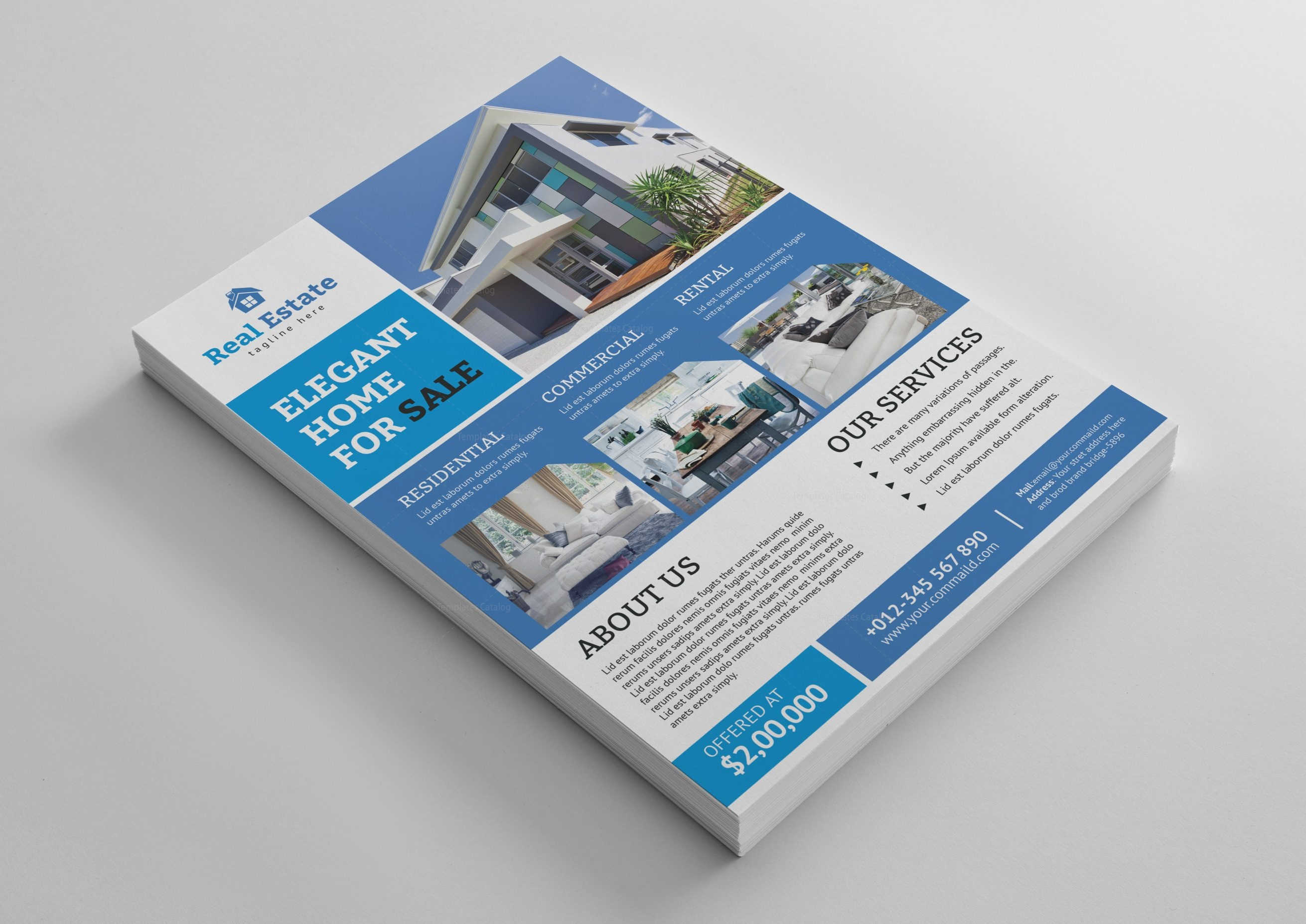 Luxury Real Estate Flyer Template 001468 Template Catalog
