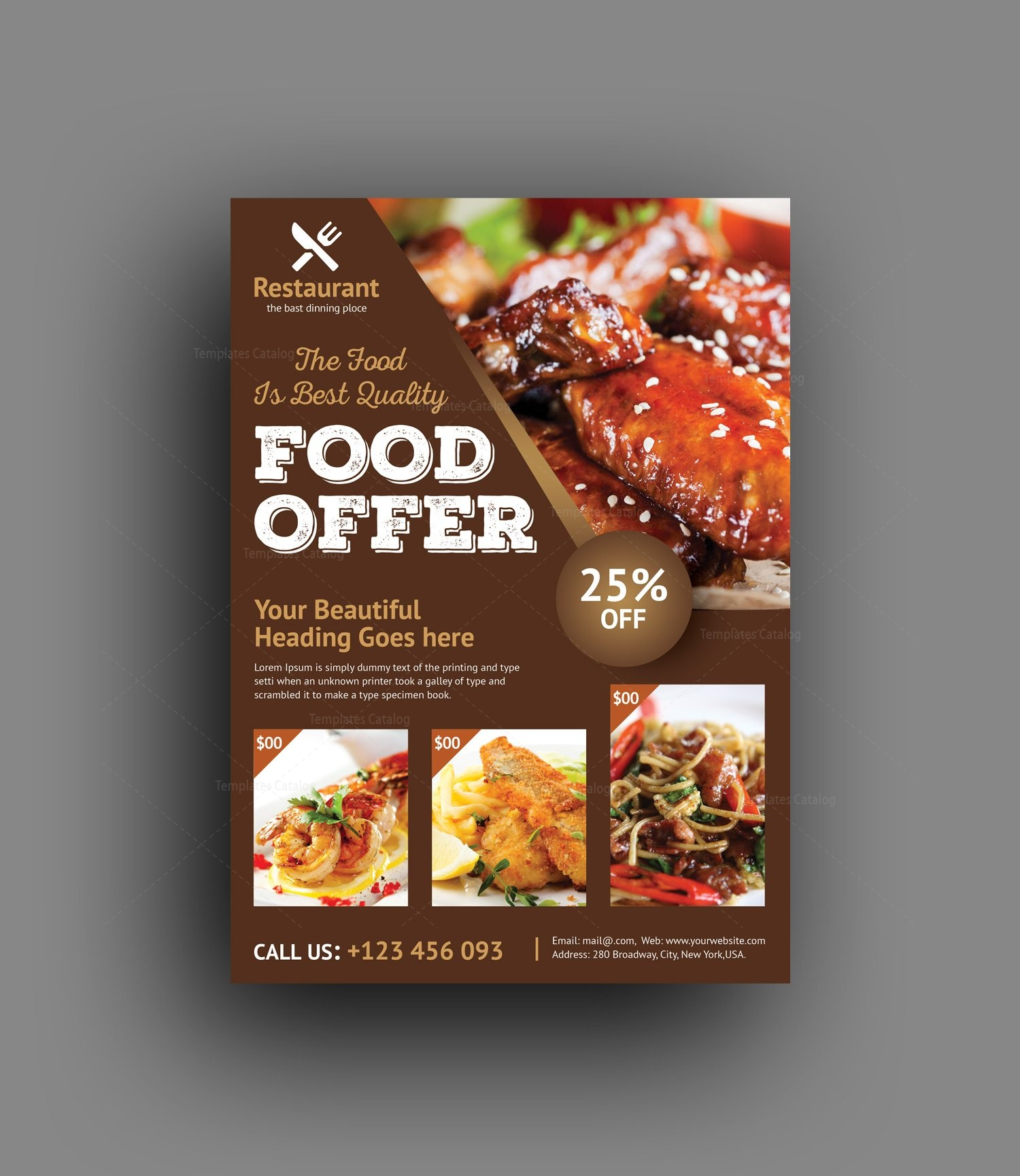 Luxury restaurant flyer template catalog