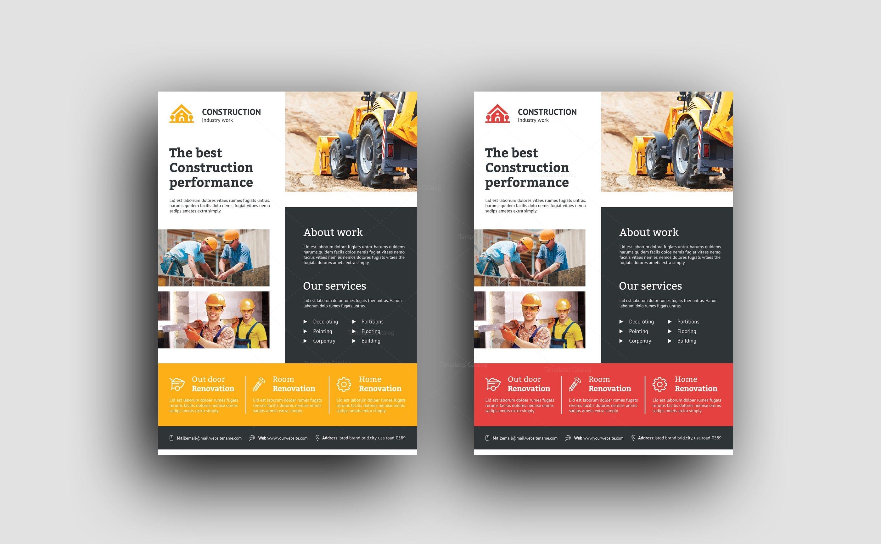 modern construction flyer design template 001494 template catalog