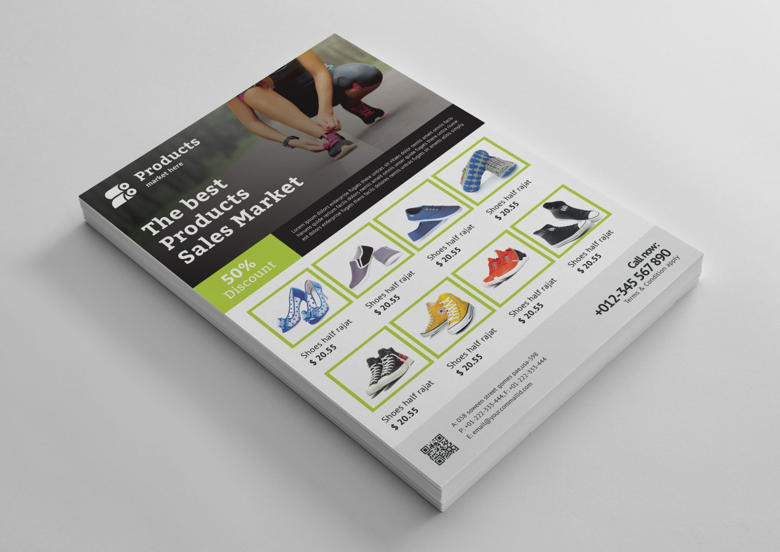 modern products flyer design template 001495