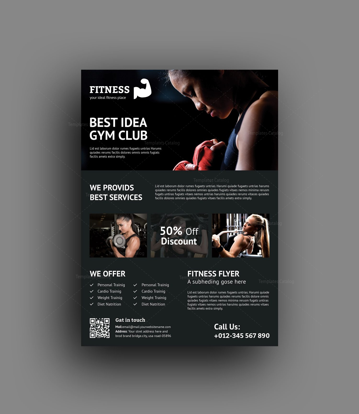 premium fitness flyer design template 001489 template catalog