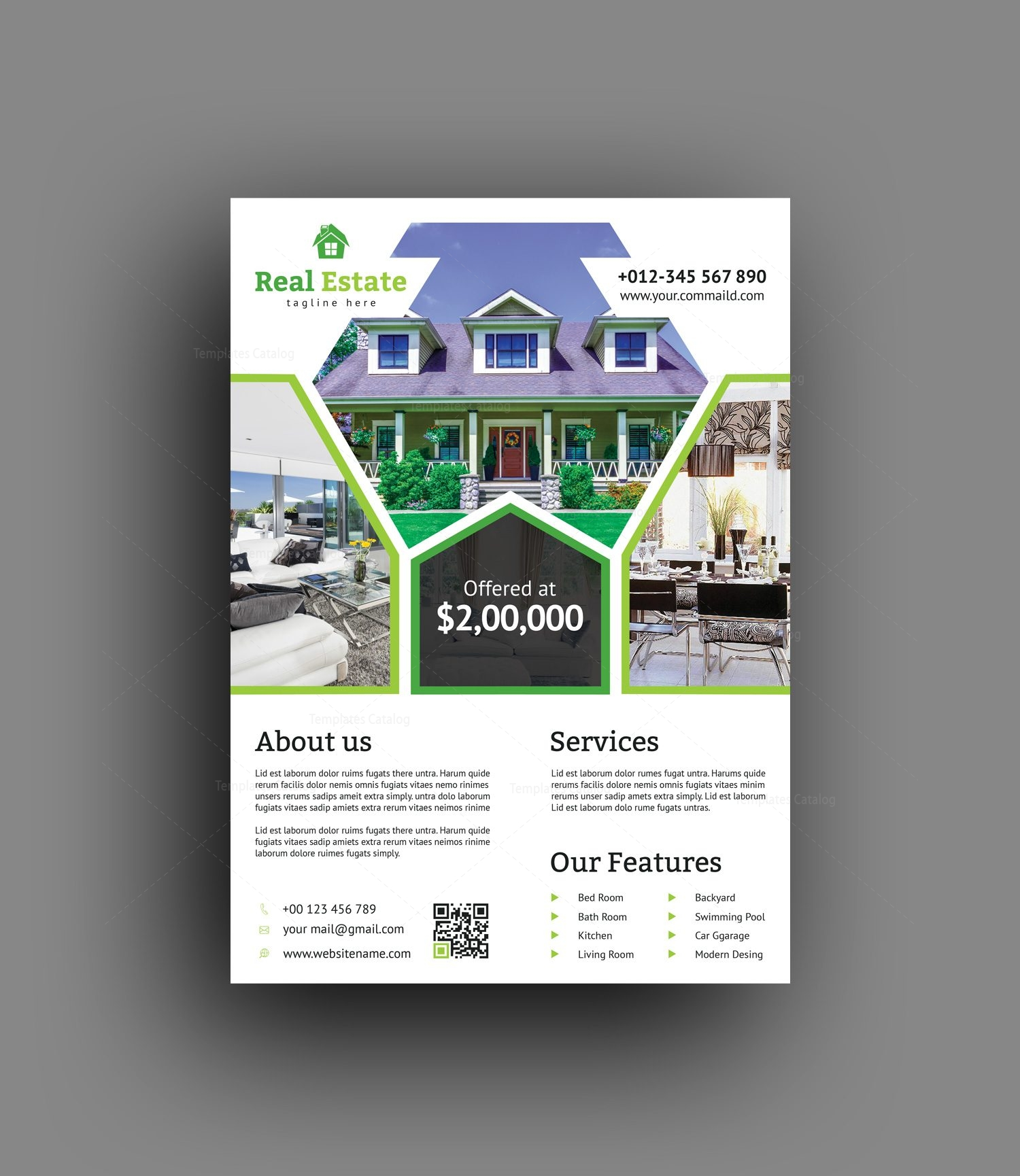 real estate brochure design templates - premium real estate flyer design template 001488