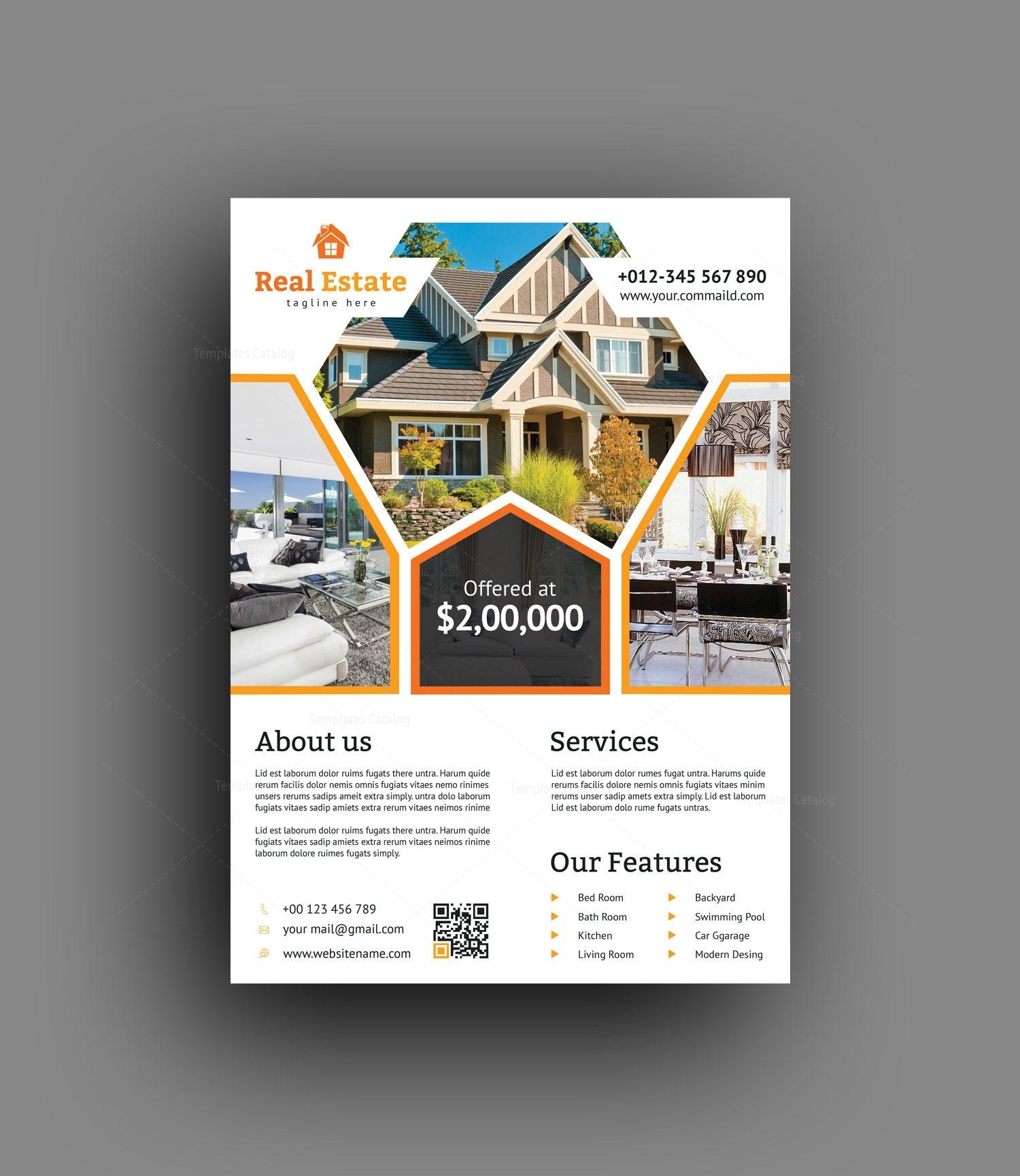 premium real estate flyer design template 001488