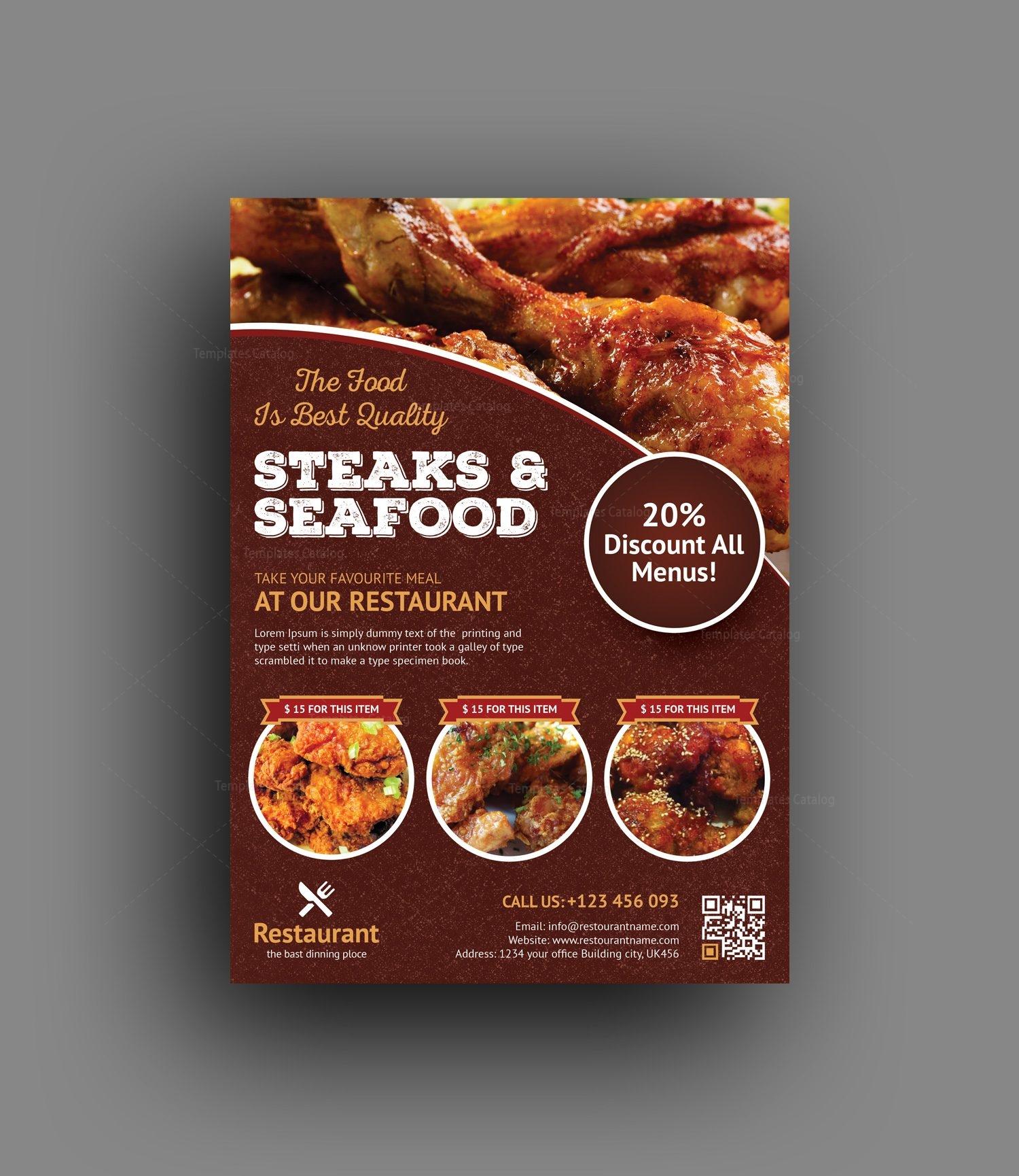 Premium Restaurant Flyer Template 001470 Template Catalog