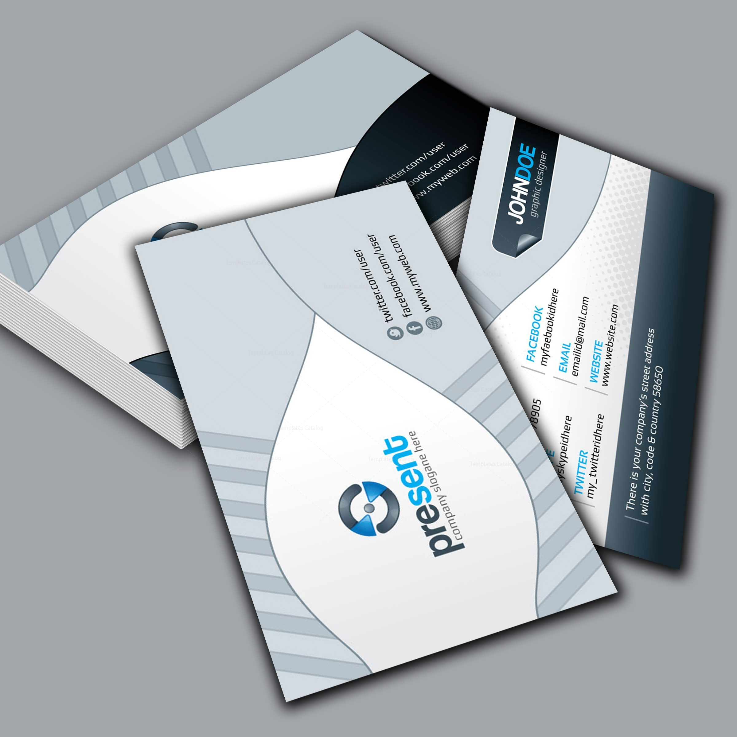 Present Elegant Corporate Business Card Template 001305 - Template ...